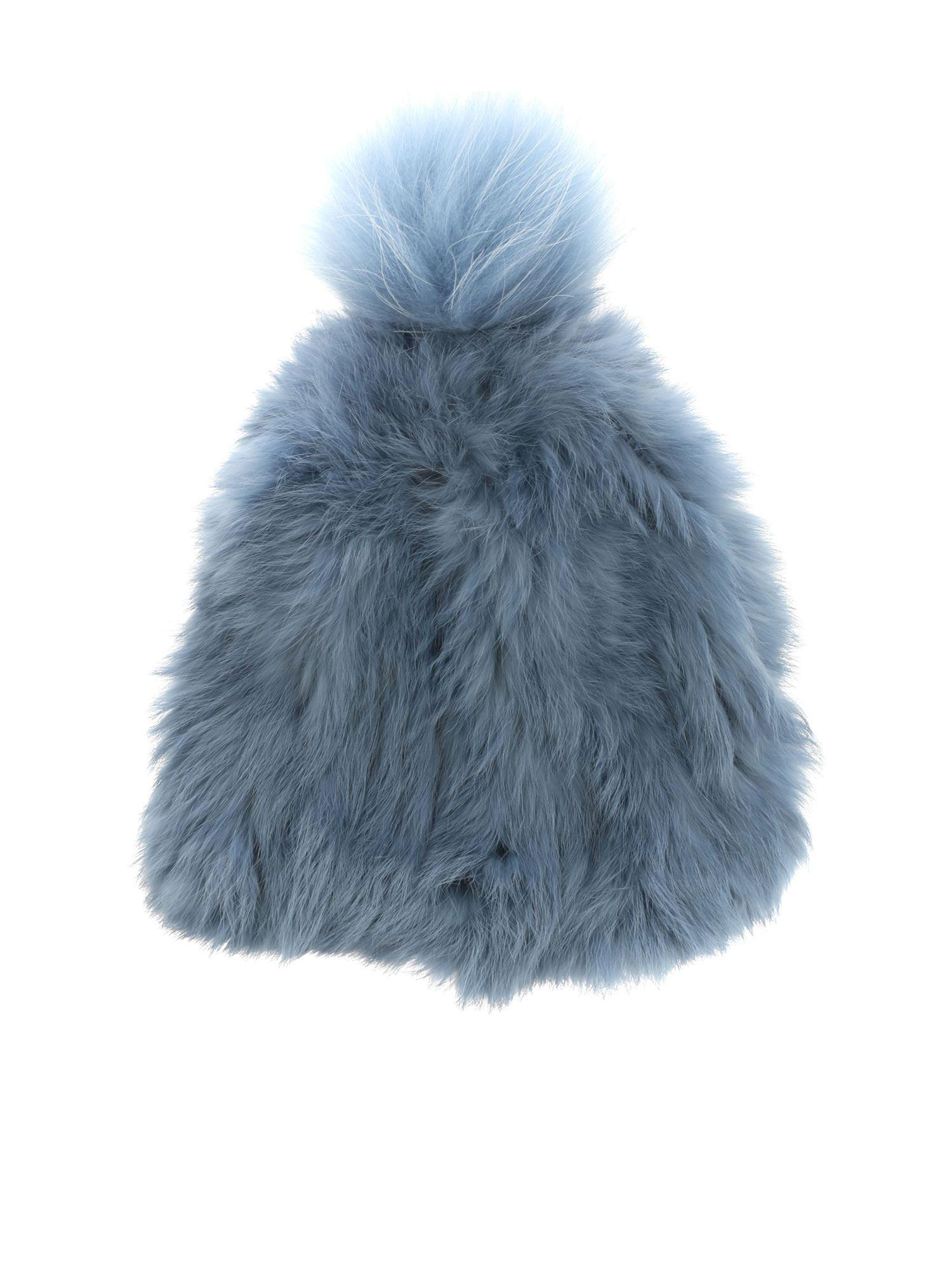 a736f59ba52a Yves Salomon Bonnet Light-blue Fur Beanie in Blue - Lyst