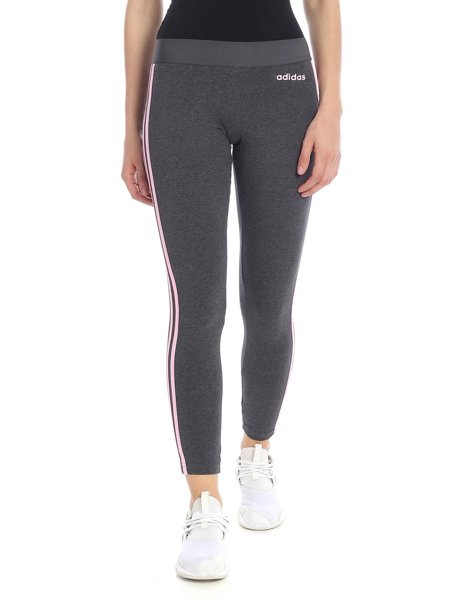 ed4ae2afc4e250 Adidas - Gray Grey leggings With Pink Three Stripes - Lyst. View fullscreen