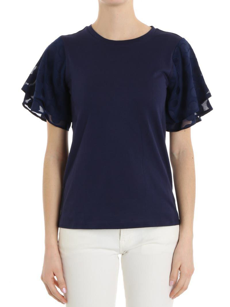 5f8cd74835d Lyst - Michael Kors T-shirt For Women On Sale in Blue - Save 42%
