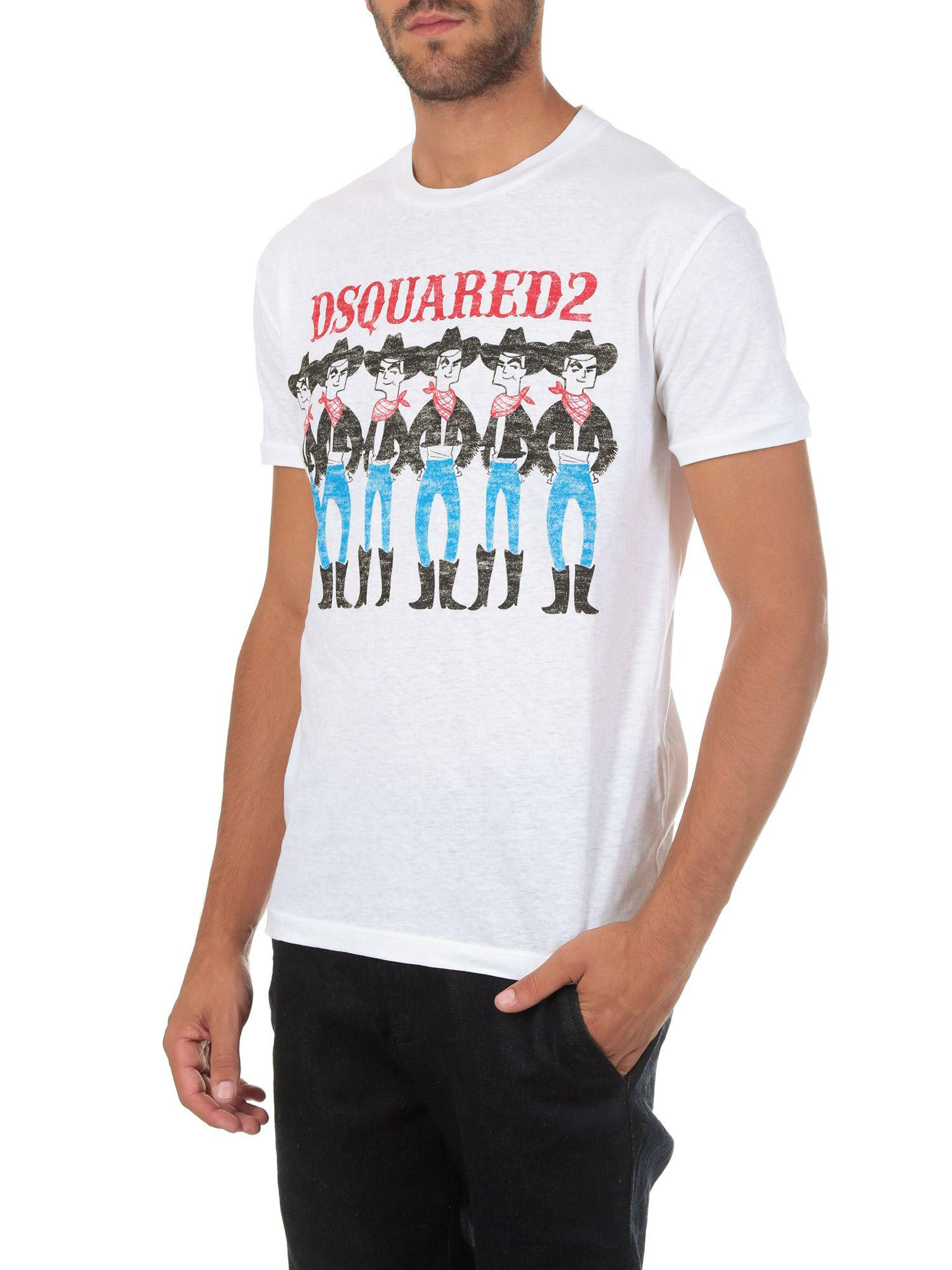 a8fb69eb Lyst - DSquared² Cowboys Printed Crew Neck T-shirt in White for Men