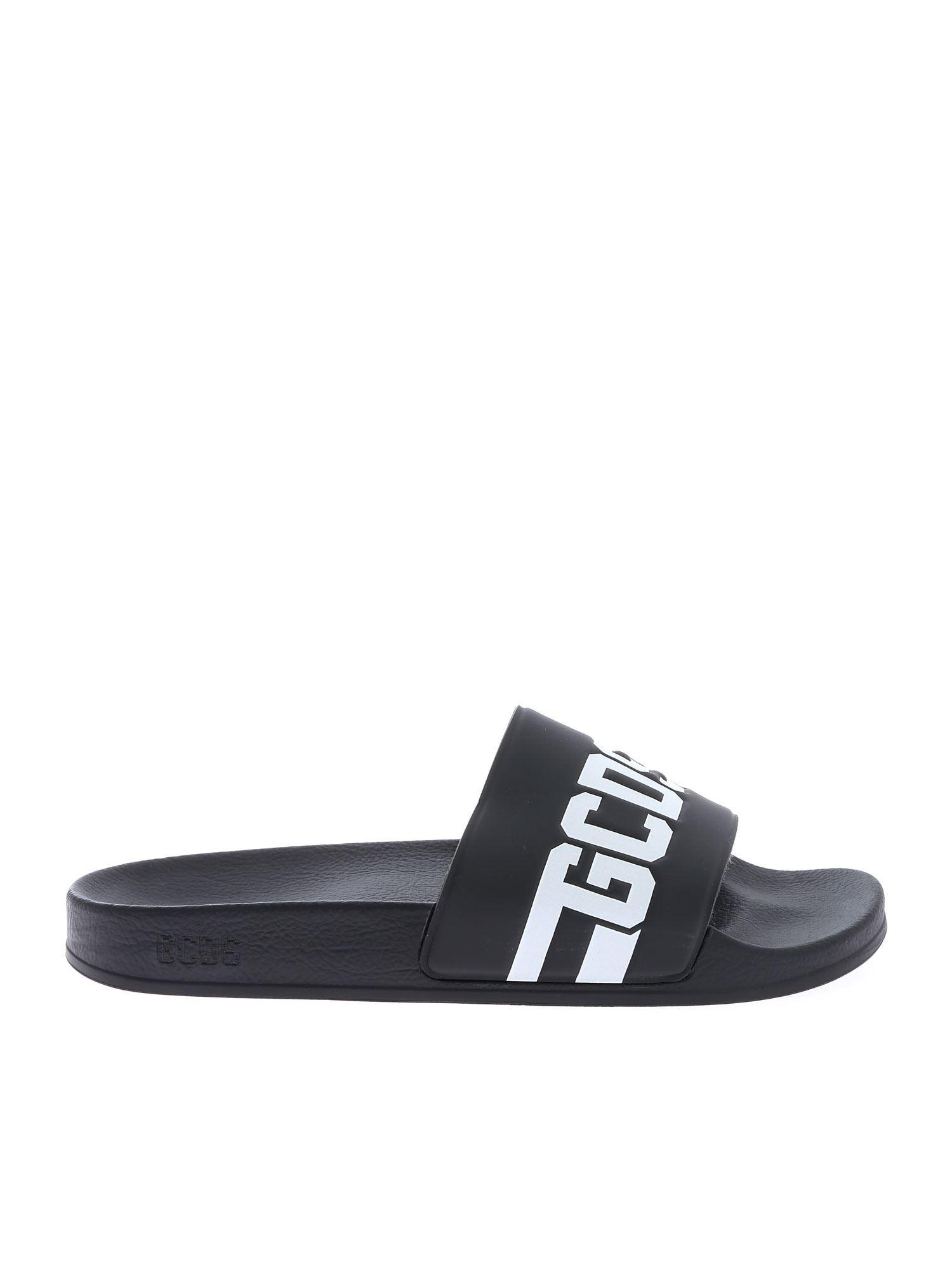 2e629407fc3c Gcds Logo Embossed Rubber Slide Sandals in Black for Men - Save 51 ...