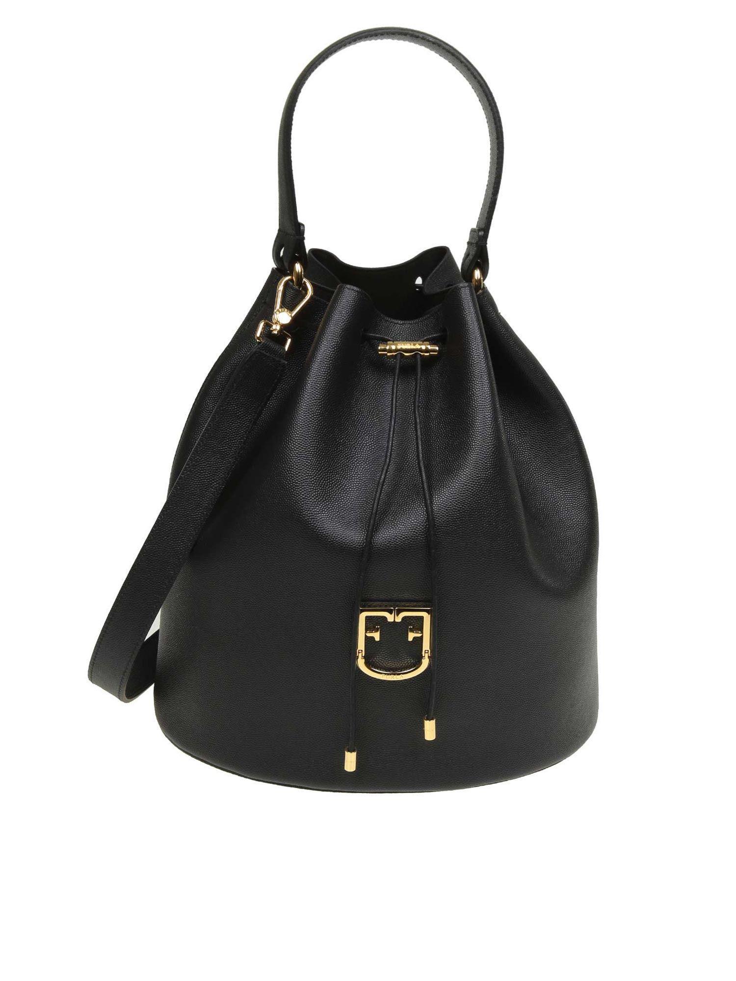 d547b63c0cea Lyst - Furla Corona M Bucket Bag In Black Leather in Black