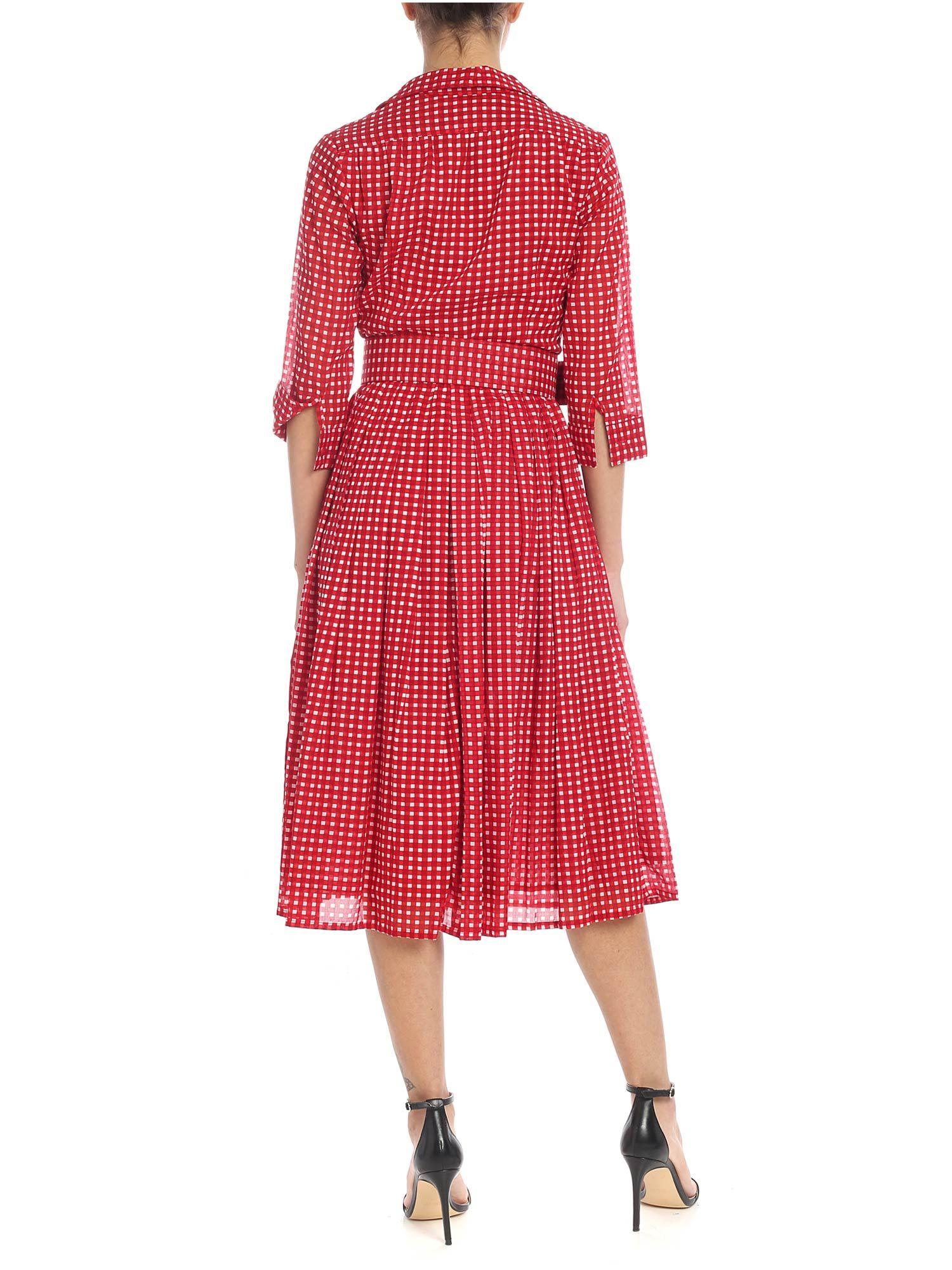 Vichy Red With White And Sung Print Audrey In Chemisier Samantha 92IHED