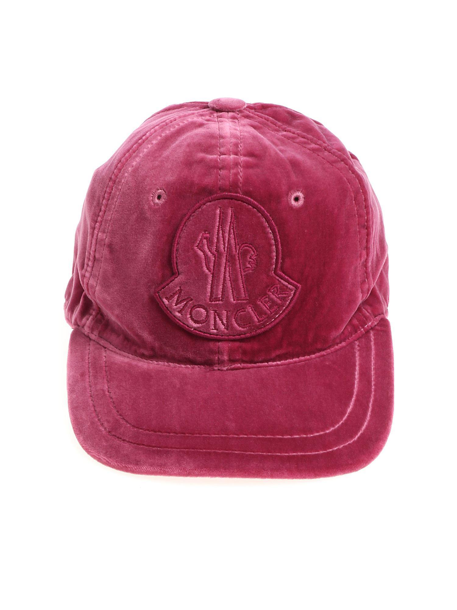 e1eaee806e2 Lyst - Moncler Magenta Velvet Cap With Logo in Red