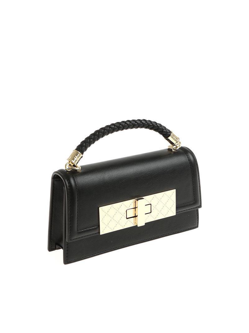 Black eco-leather shoulder bag Elisabetta Franchi obBUzE