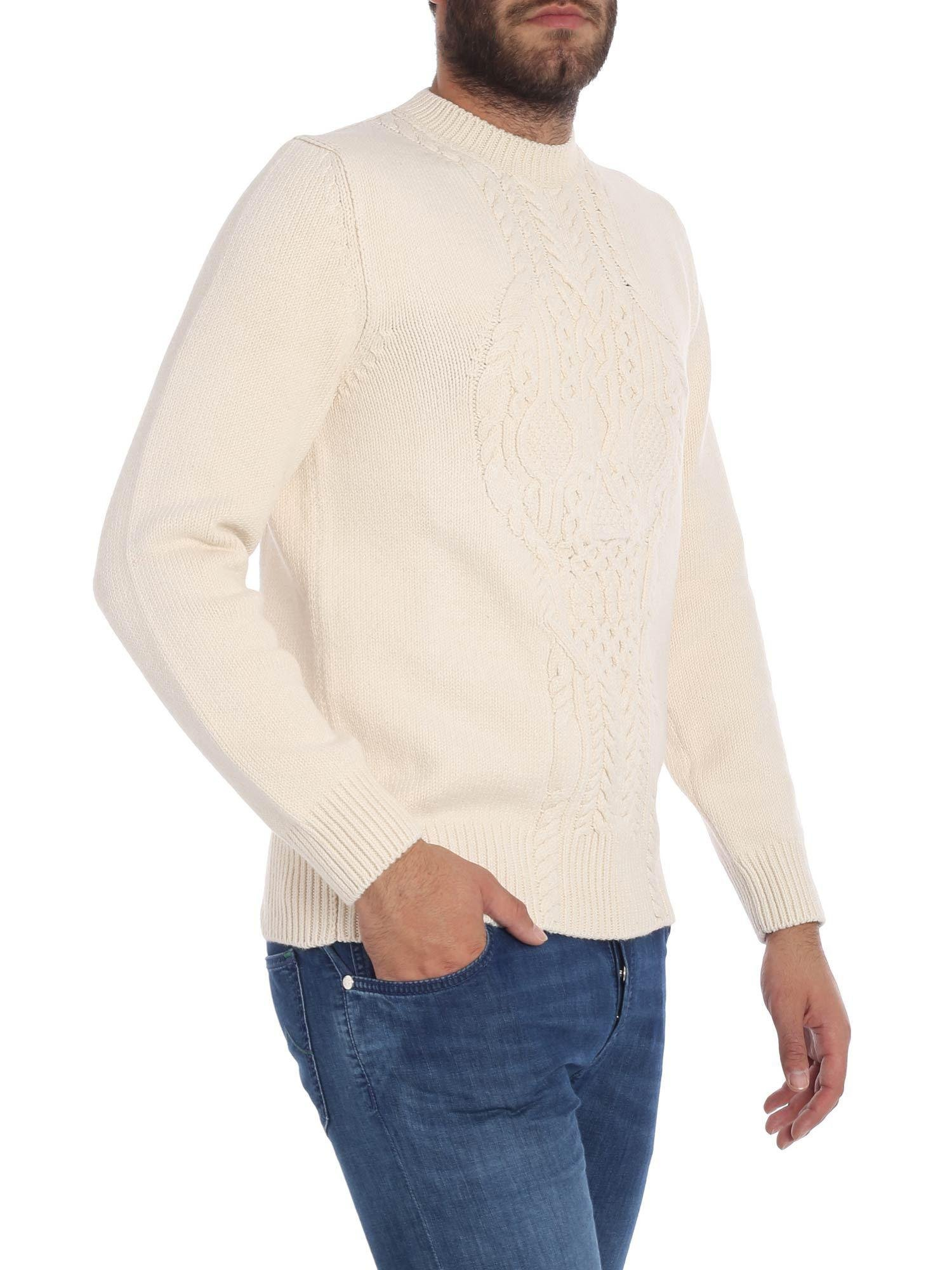5a54d67b6885ee Alexander Mcqueen Ecru Crew Neck Sweater With Cable Knit Motif in Natural  for Men - Lyst