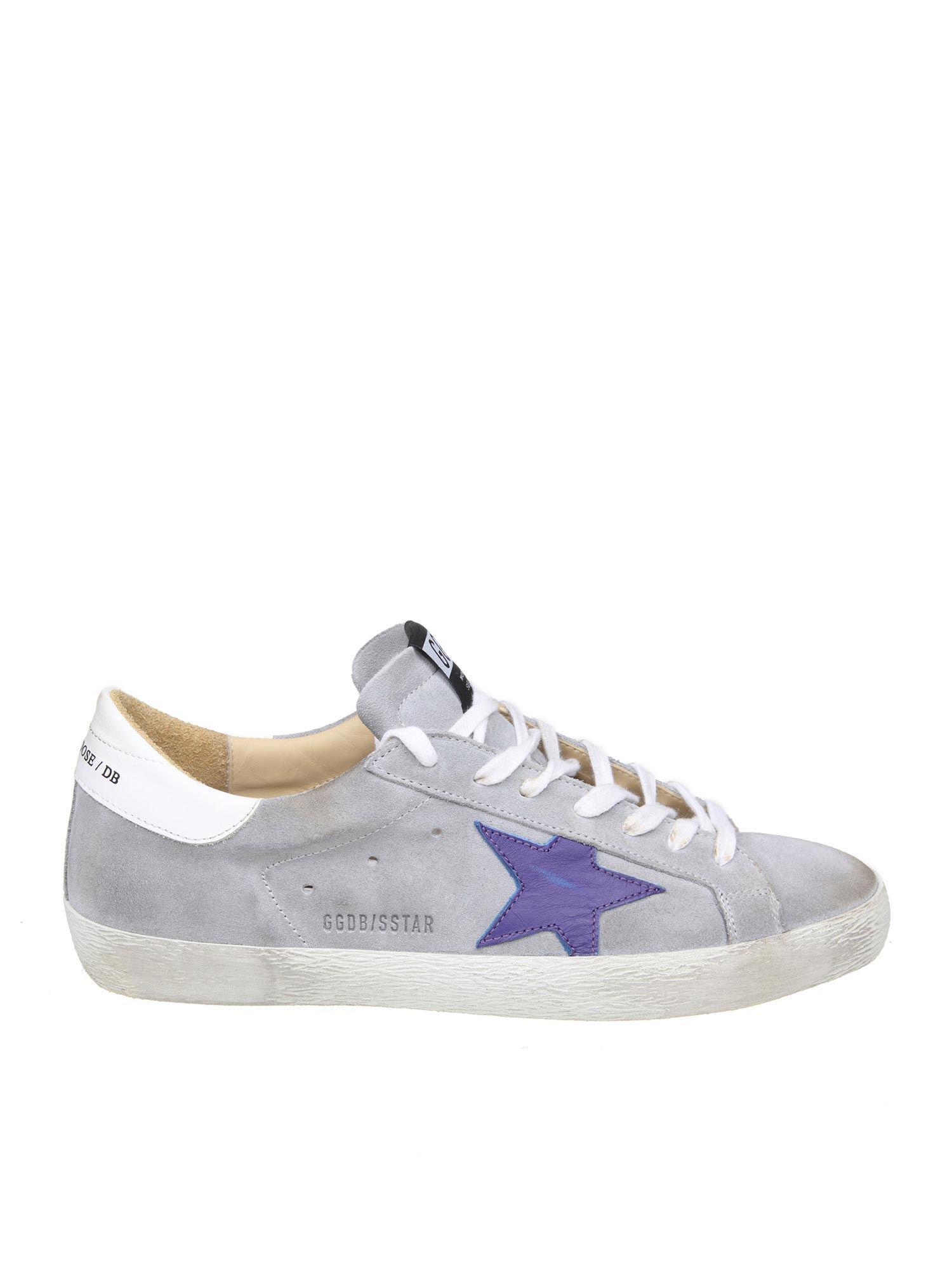 eaeafd27b4ed Golden Goose Deluxe Brand Superstar Grey Sneakers With Purple Star ...