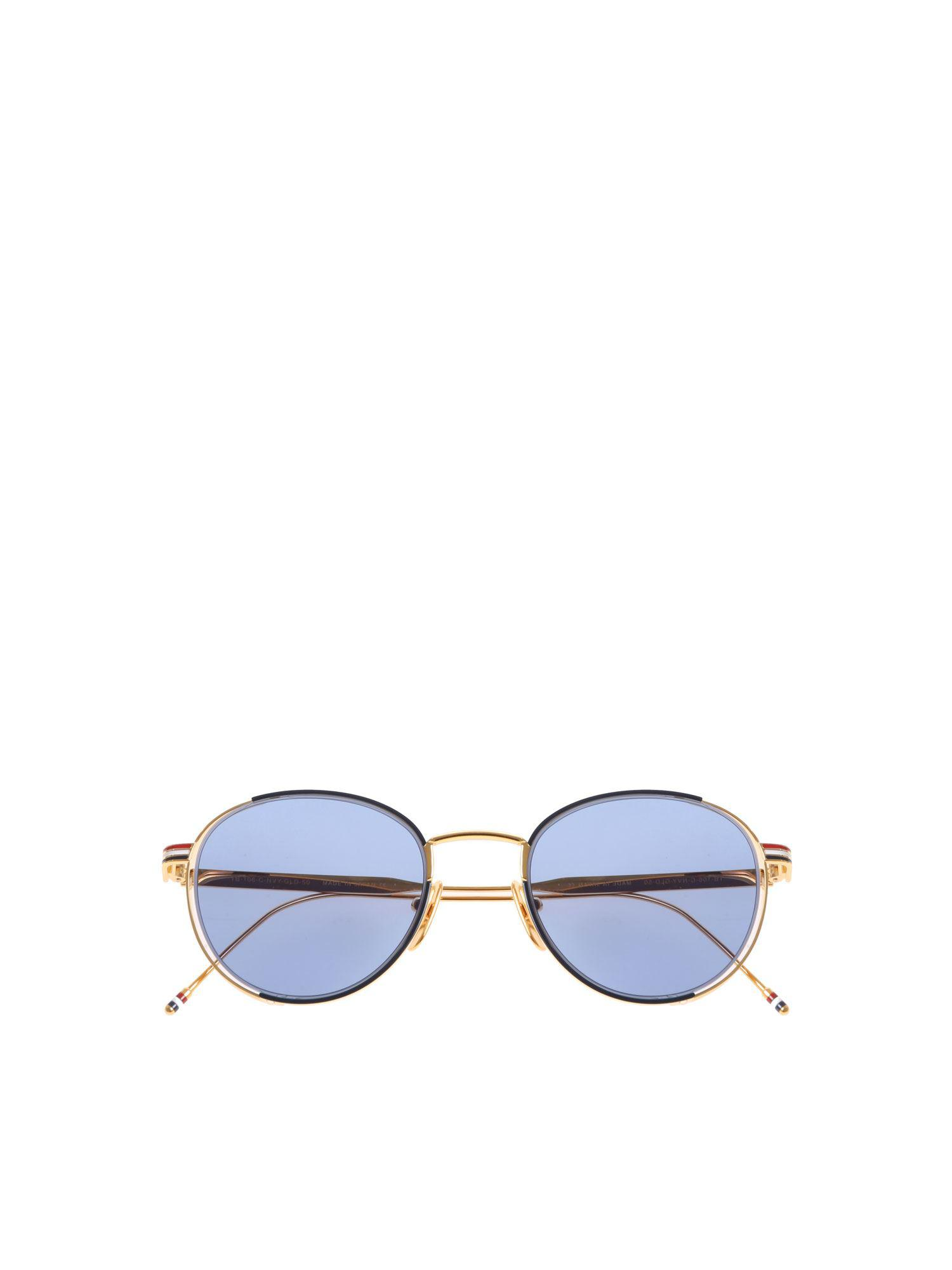 42bed8d5bf2 Thom Browne Golden Sunglasses With Blue Lens in Blue - Lyst