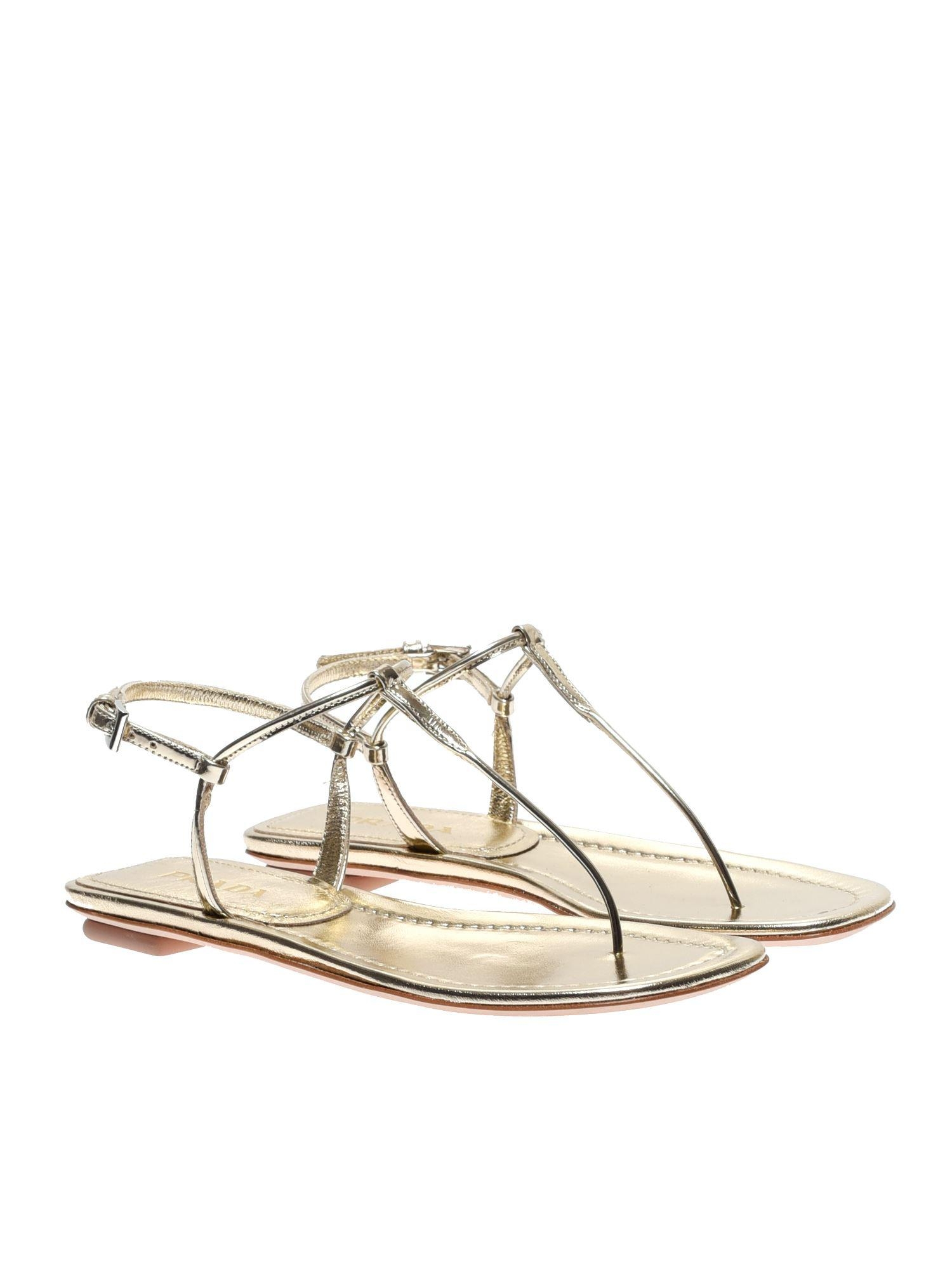 5675f3e8908 Lyst - Prada Laminated Leather Thong Sandals