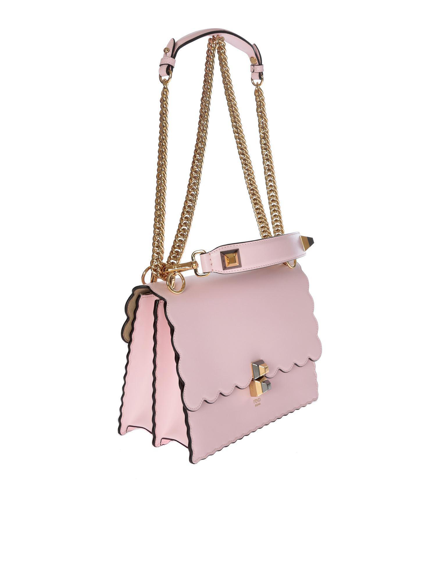 b87323916e Fendi Kan I Pink Leather Shoulder Bag in Pink - Lyst