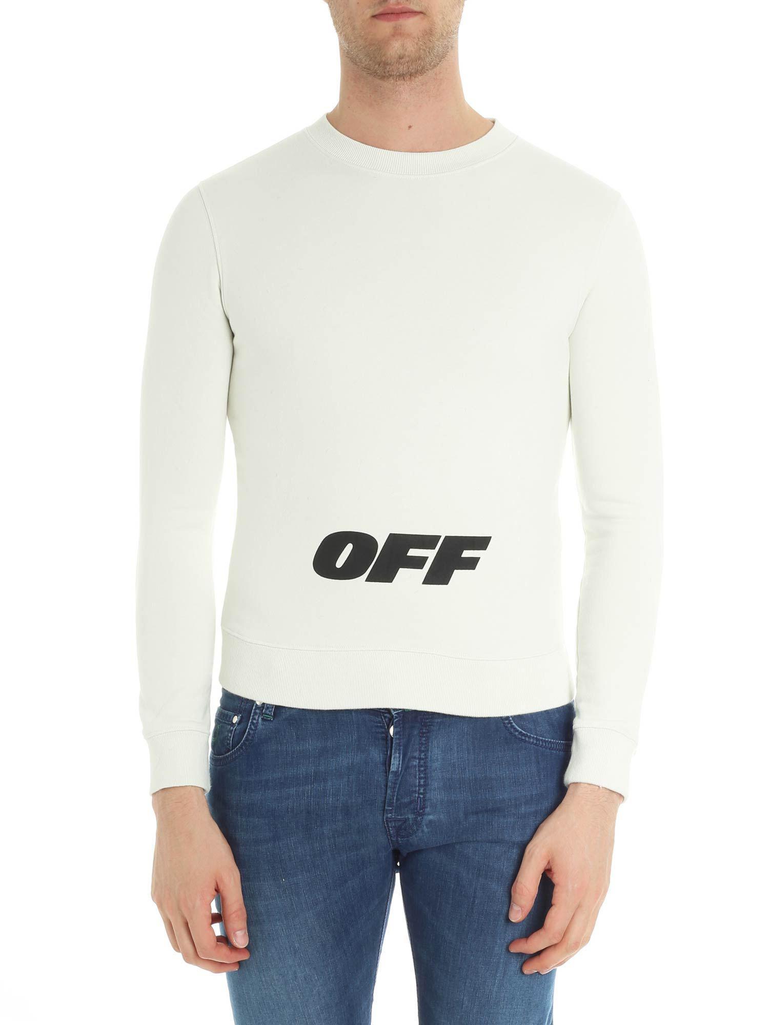037fa43b9 Off-White c/o Virgil Abloh Ivory Wing Off Crewneck Sweatshirt With ...