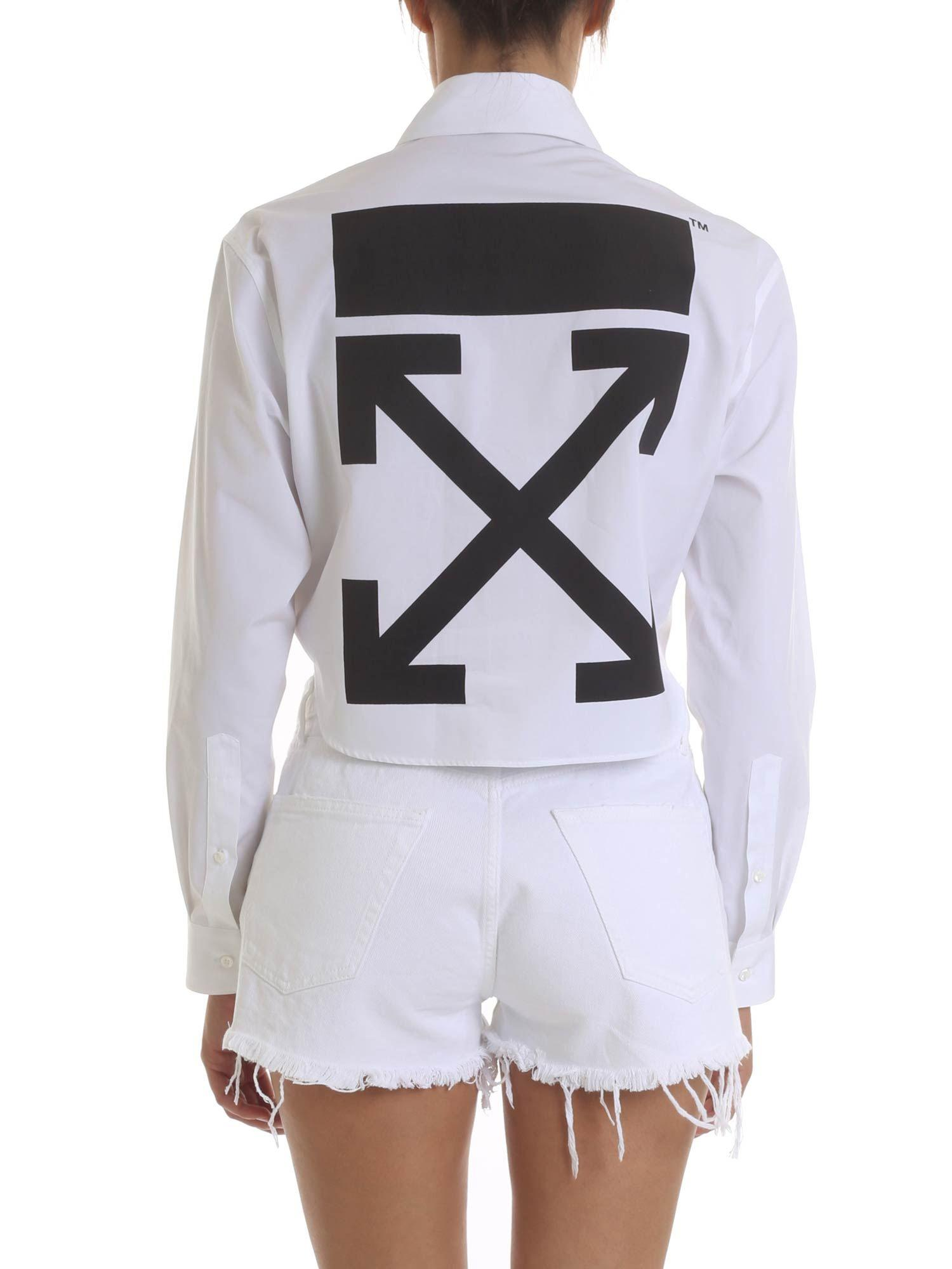 00845f9470 Off-White c o Virgil Abloh - Crop Shirt In White With Logo Print. View  fullscreen