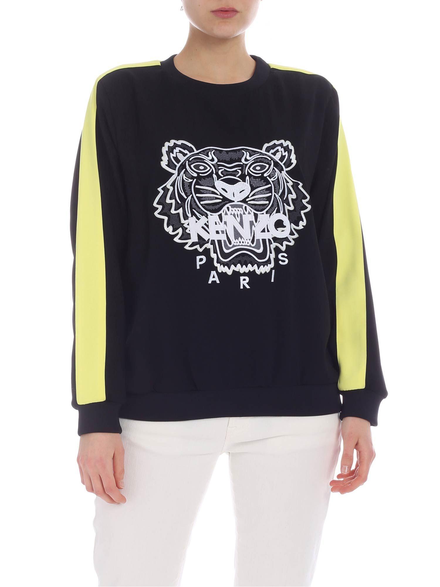 e773bdc1 Lyst - KENZO Black Tiger Sweatshirt With Yellow Band in Black