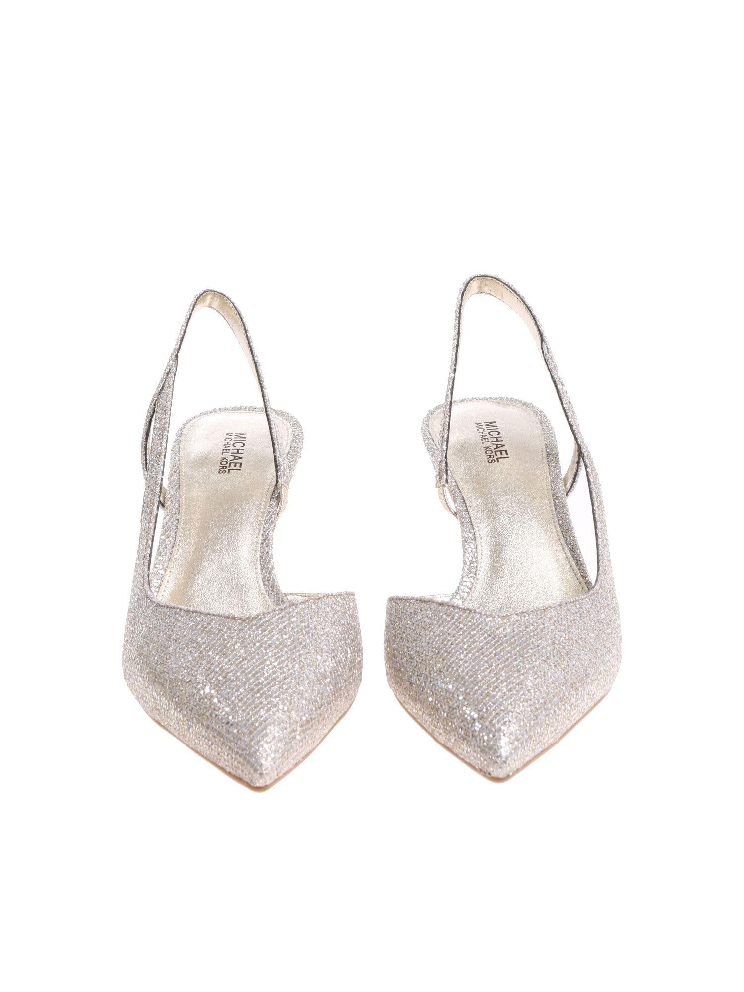 80164cf7525e Lyst - Michael Kors Silver Eliza Flex Kitten Pumps in Metallic
