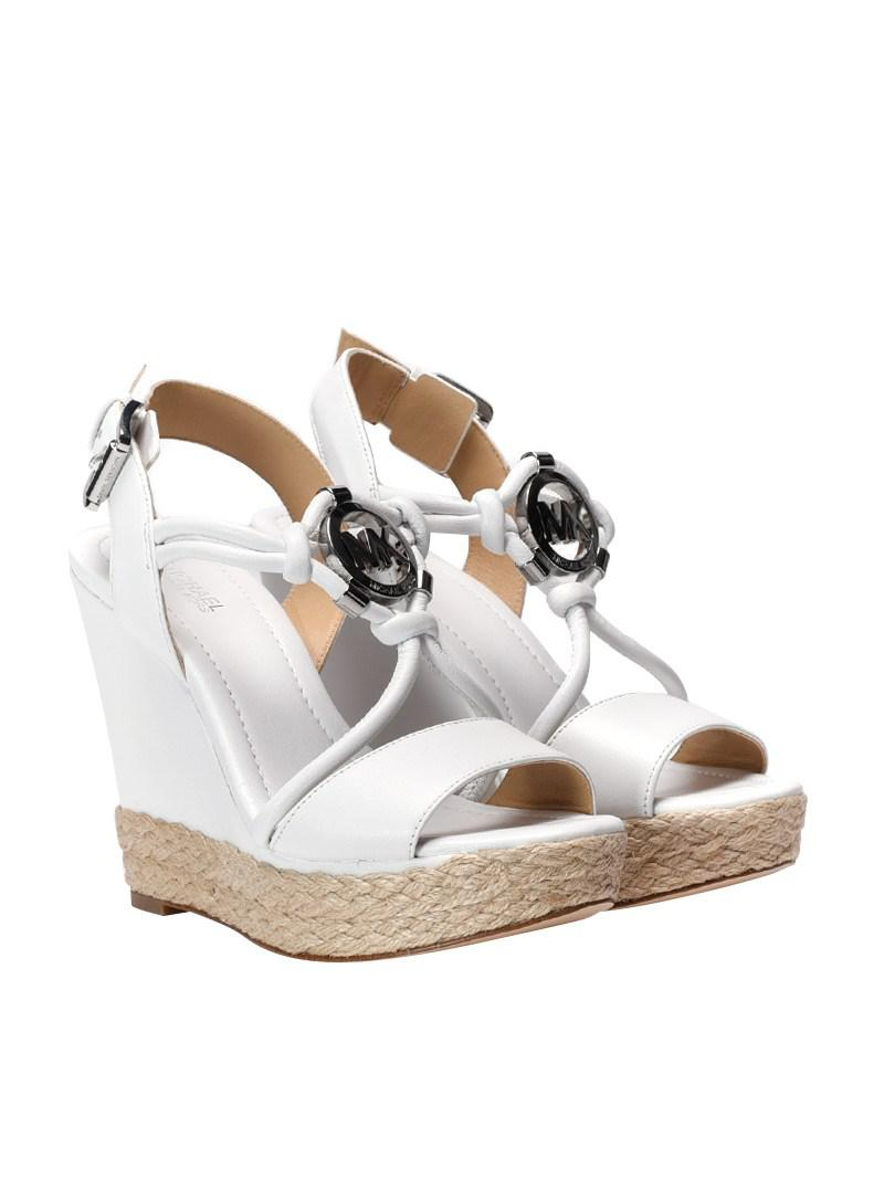 32866b75030f Michael Kors Kinley Wedge Sandals in White - Lyst