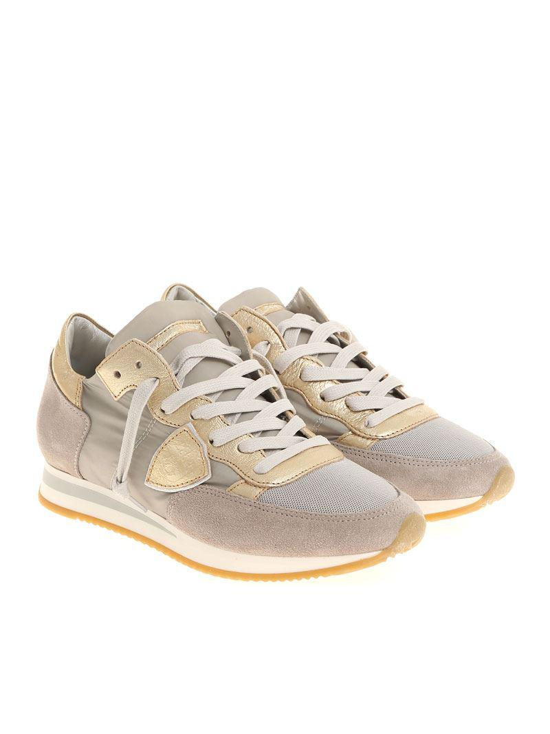 Taupe and golden Tropez L sneakers Philippe Model JdRxsY2W