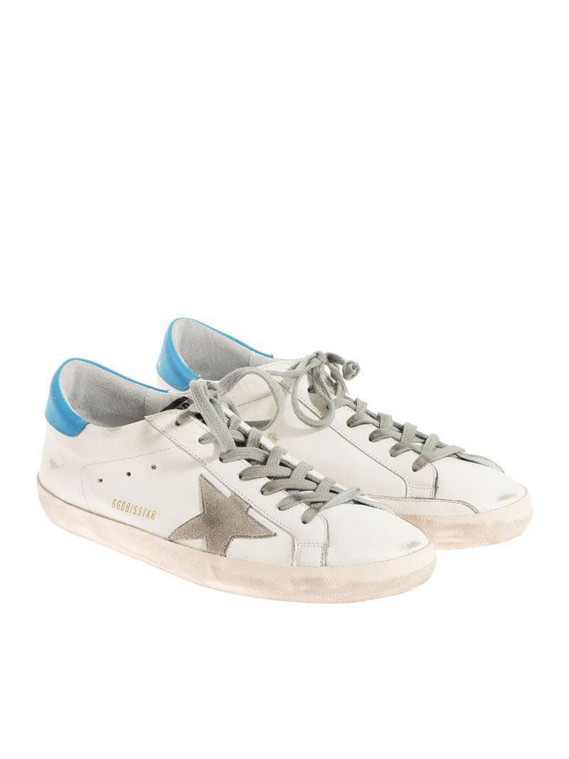 61f861c237306 Golden Goose Deluxe Brand White And Light Blue Superstar Sneakers in ...
