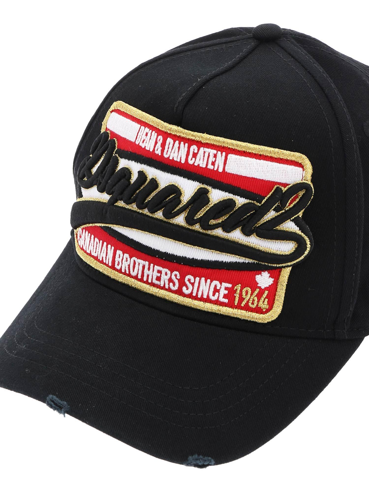 be96ebc75dbdc DSquared² Canadian Brothers Baseball Cap In Black in Black for Men ...