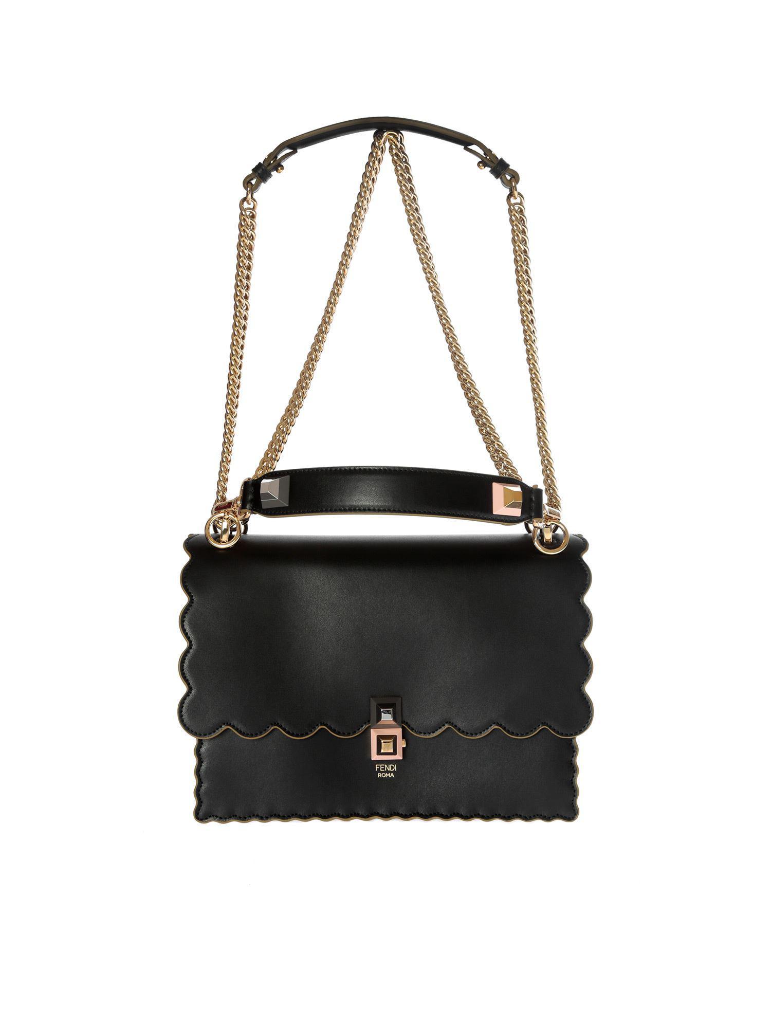 Lyst - Fendi Kan I Black Shoulder Bag in Black 0ad85f5cfdfcf