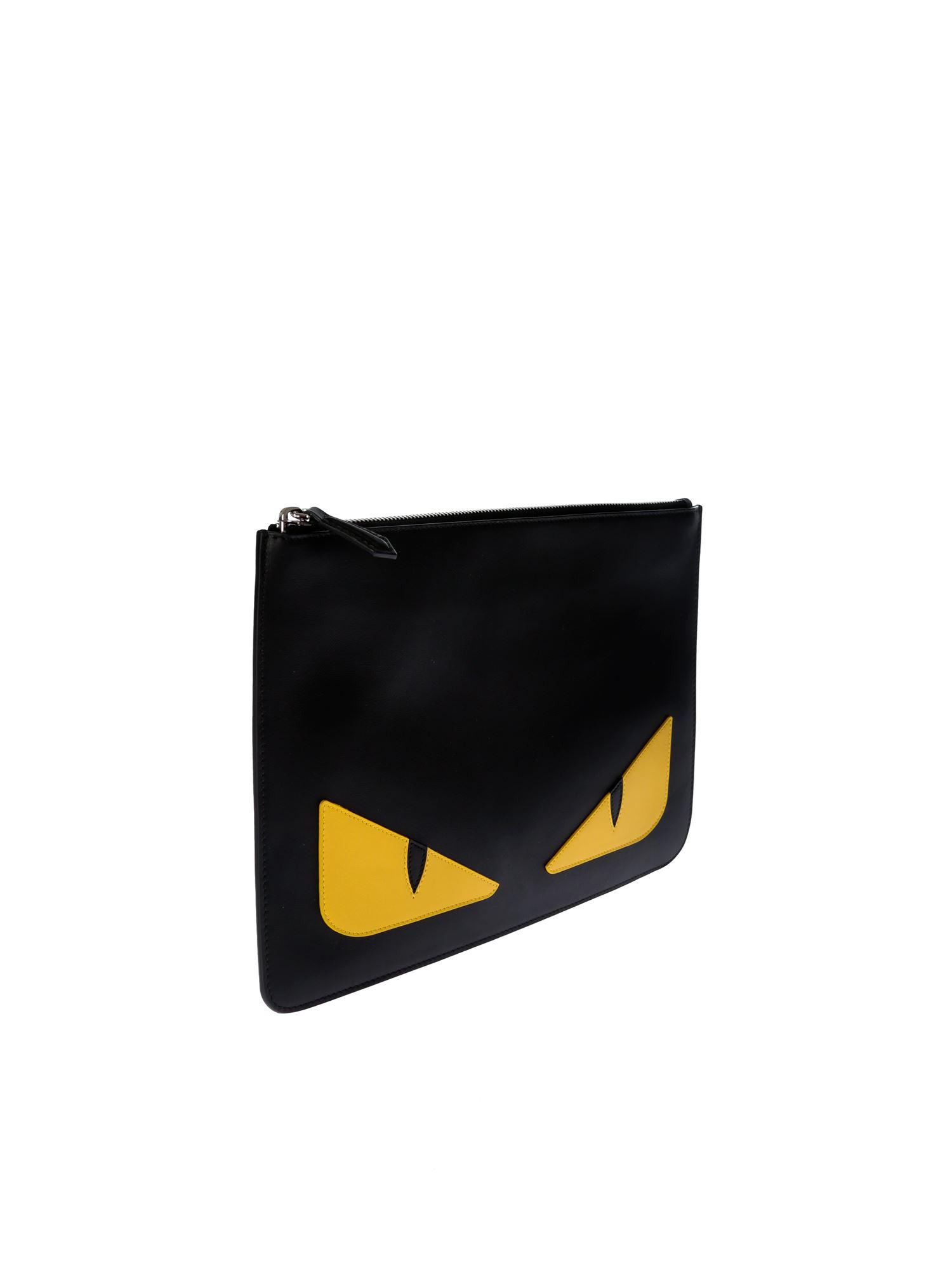b2d19d89e88f Fendi Black Leather Pouch With Eyes Inlay in Black - Save 8% - Lyst