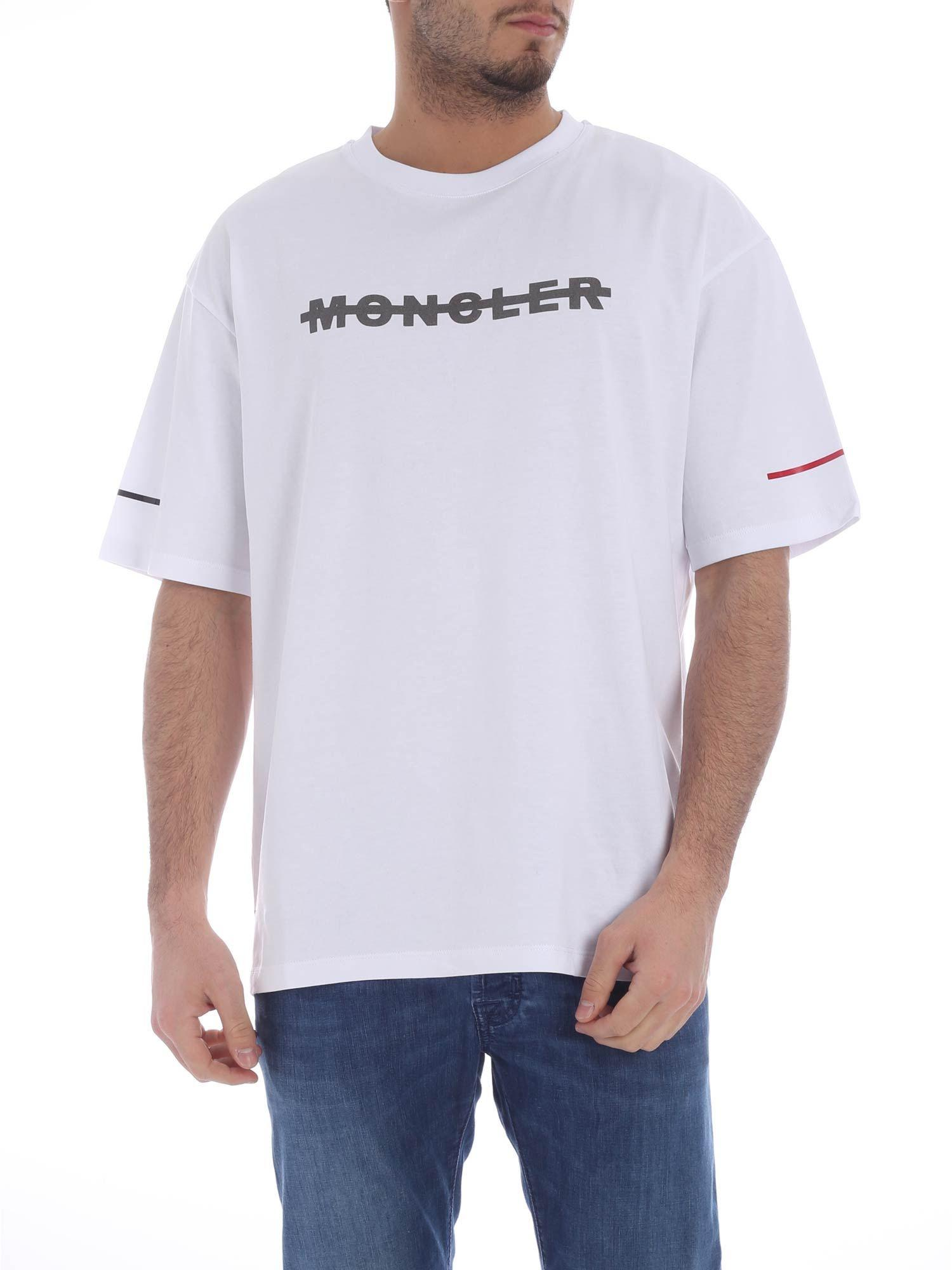 e15360220869 Lyst - Moncler  maglia  Logo Print T-shirt in White for Men - Save 32%