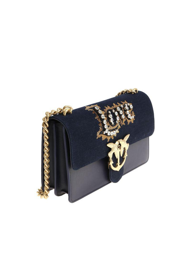 20be1de4d1 Lyst - Pinko Love Jeans Shoulder Bag With Rhinestones And Sequins in ...