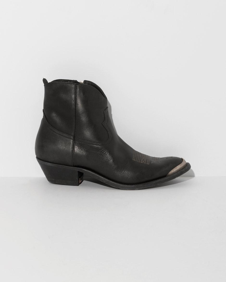 Young Calfskin Goose Smooth Golden In Black Ankle Boots r7XSqvr