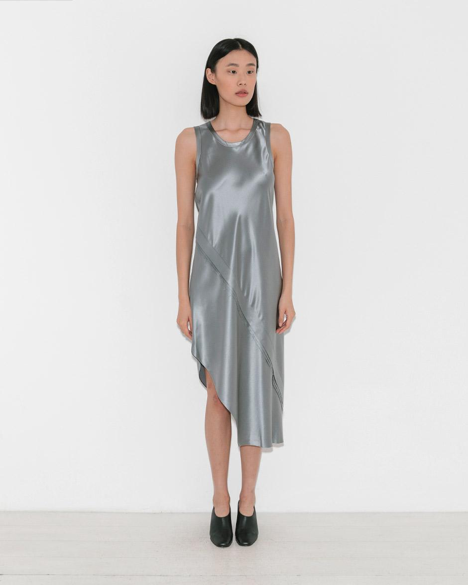 52f8054dea59 Helmut Lang Lacquered Silk Tank Dress in Gray - Lyst