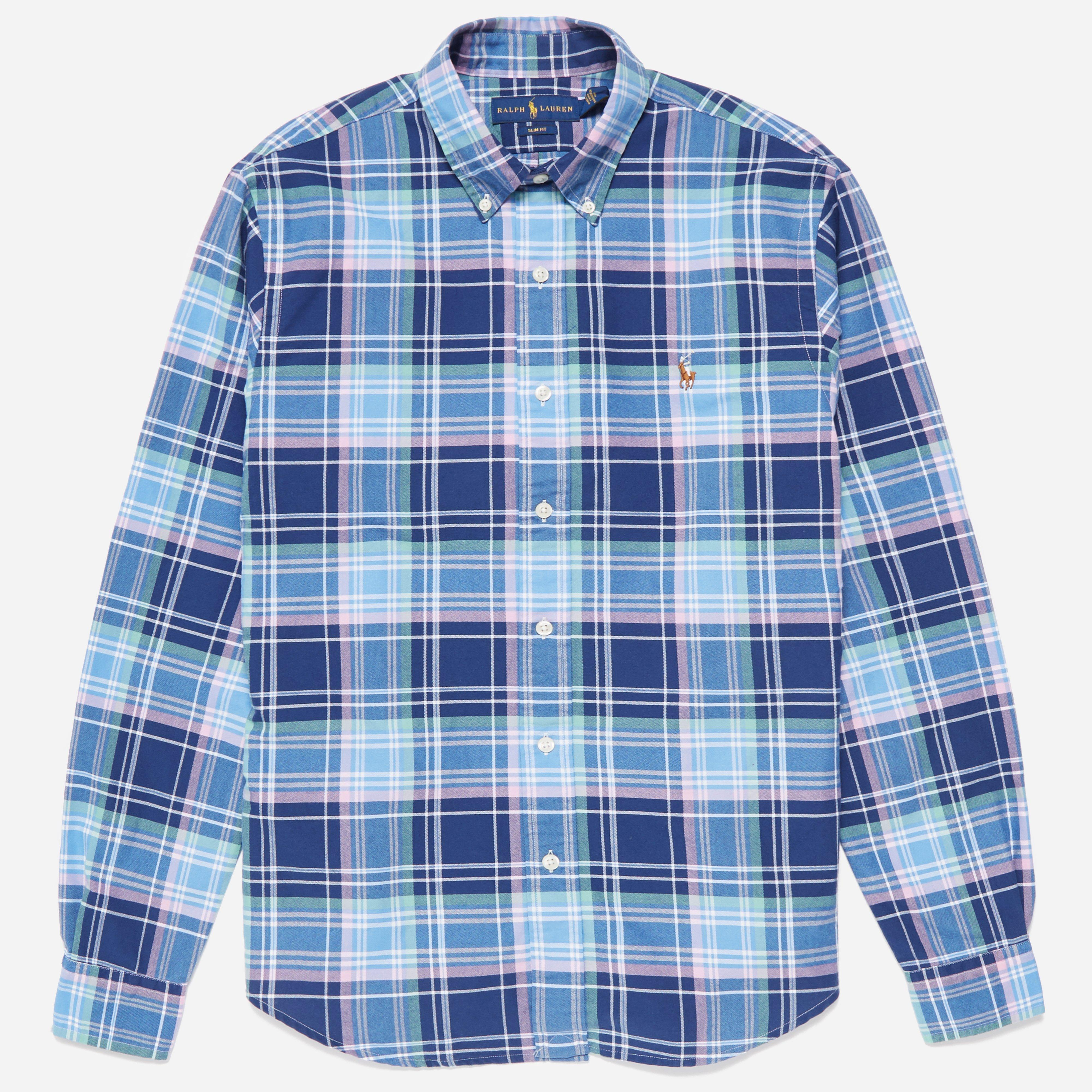 Lyst polo ralph lauren slim fit oxford check shirt in for Slim fit check shirt