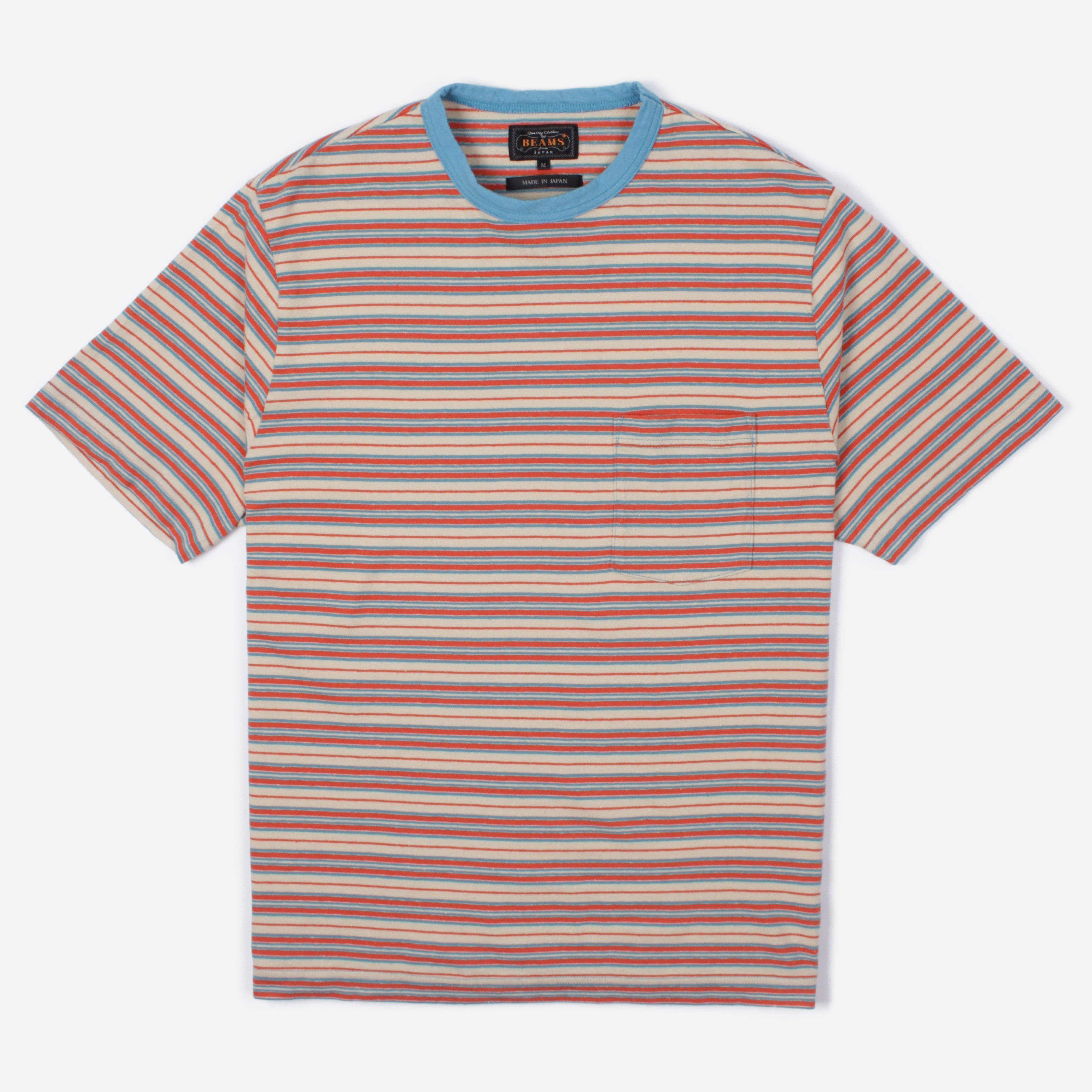 Beams Plus Nep Border Stripe Pocket T-shirt in Red for Men