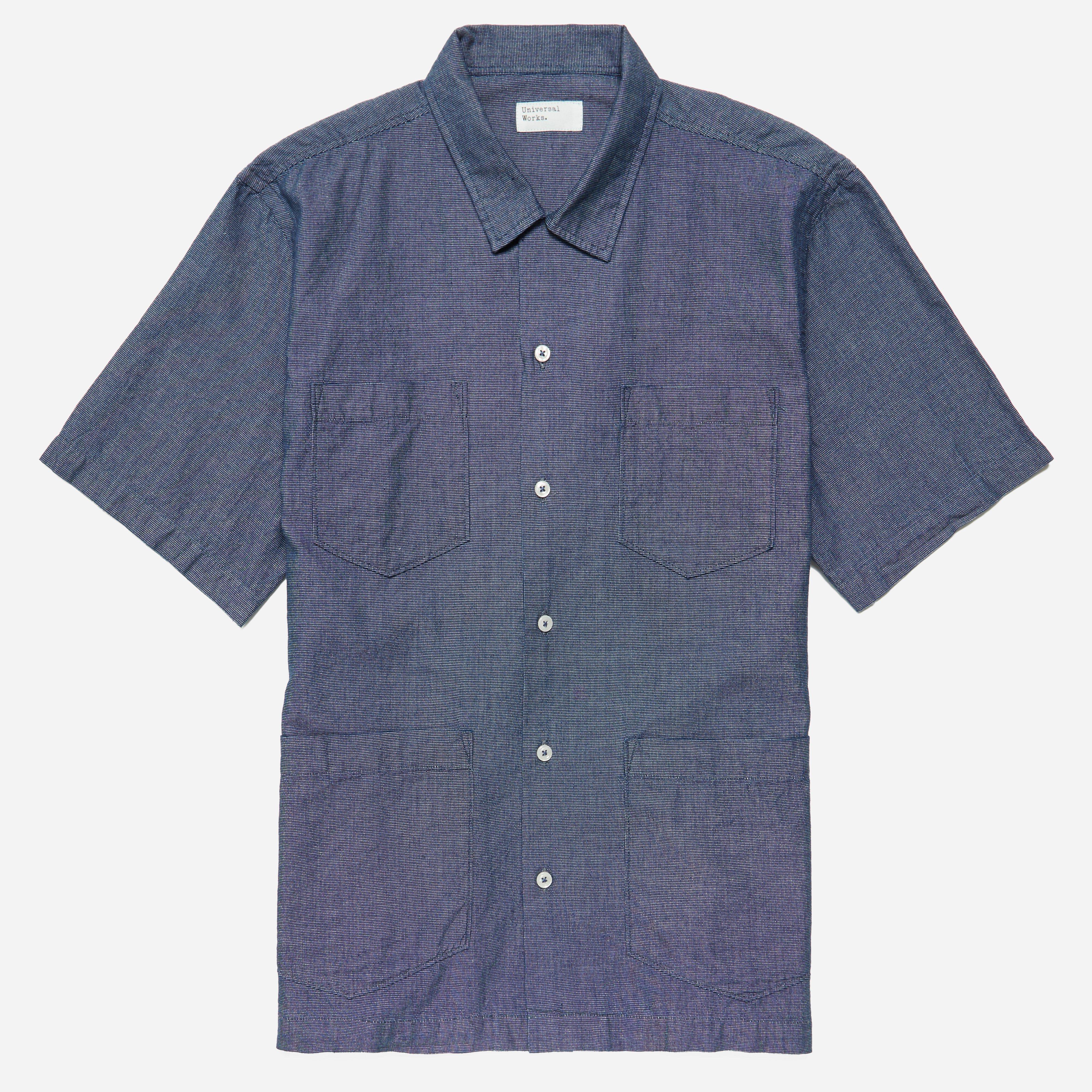 Universal Works Camp-collar Printed Cotton Shirt - Navy OENdy19I
