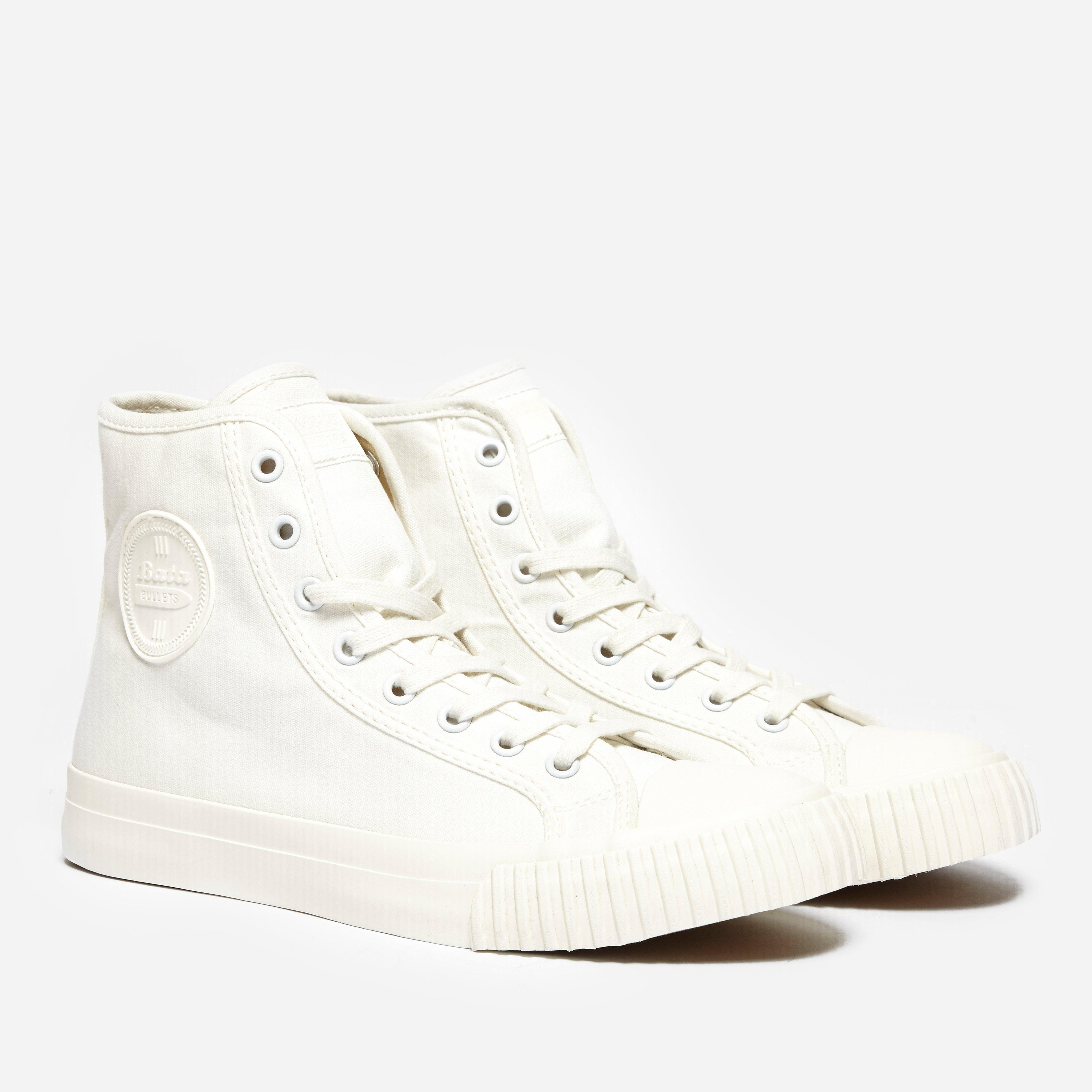 bata bullet hi top canvas in white lyst