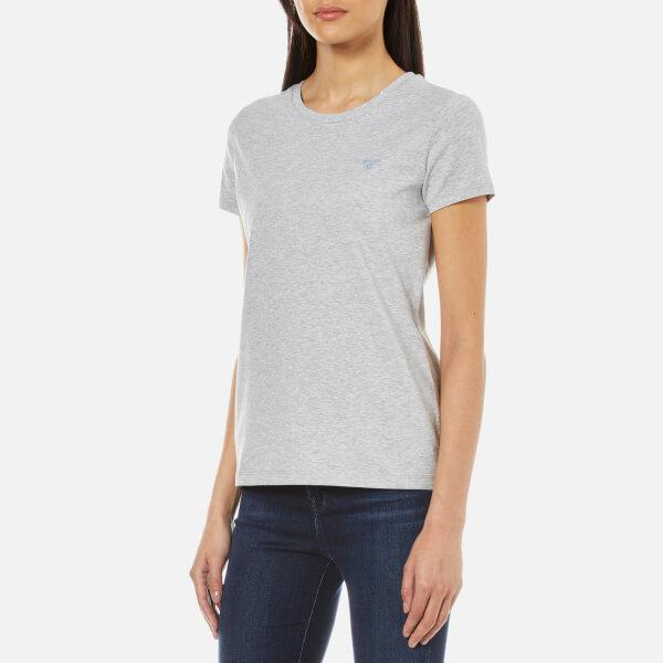 Lyst gant cotton elastane crew neck t shirt in gray for Cotton and elastane t shirts