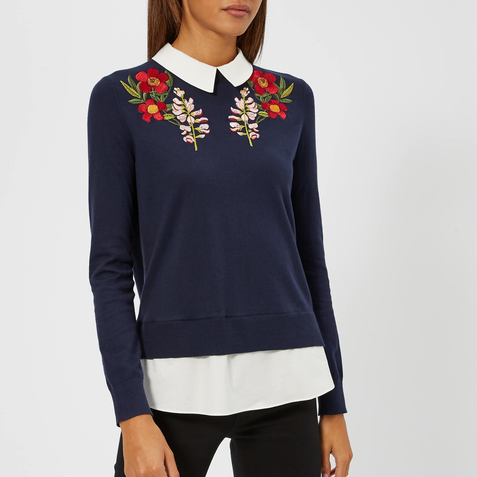 69f2850331c42 Lyst - Ted Baker Toriey Embroidered Mockable Knitted Jumper in Blue ...