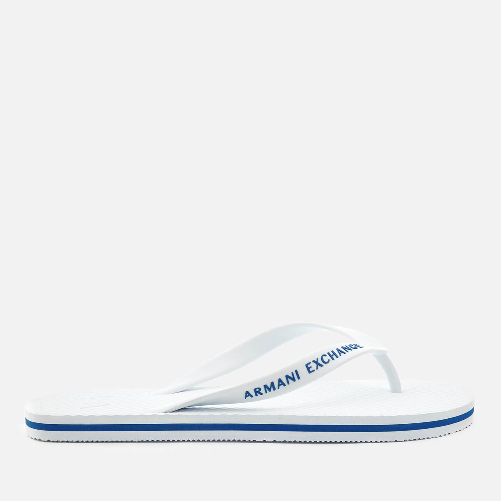 85d1916278e2 Armani Exchange - White Solid Flip Flops for Men - Lyst. View fullscreen