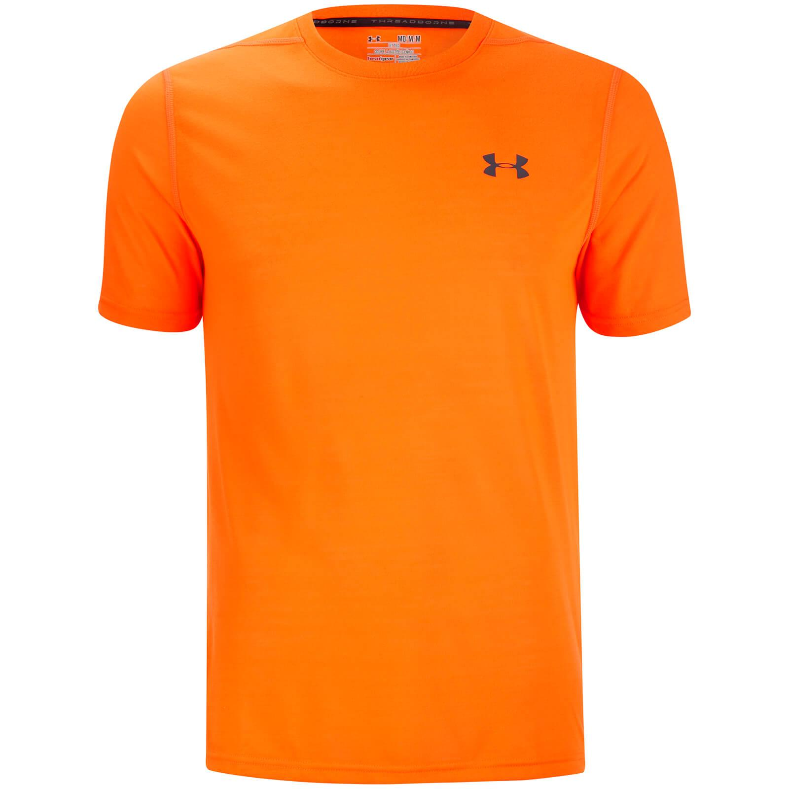Lyst under armour threadborne fitted t shirt in orange for Under armour fitted t shirt
