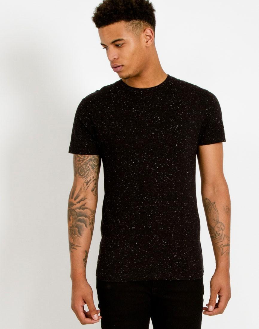 Lyst the idle man fleck t shirt black in black for men for Staples custom t shirts