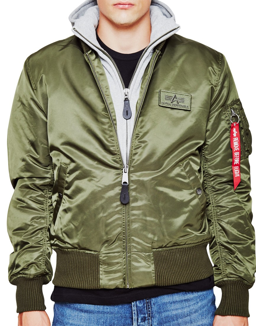Alpha Industries Ma-1 D-tec Hooded Bomber Jacket Green in Green for ... 0f4f3d41922