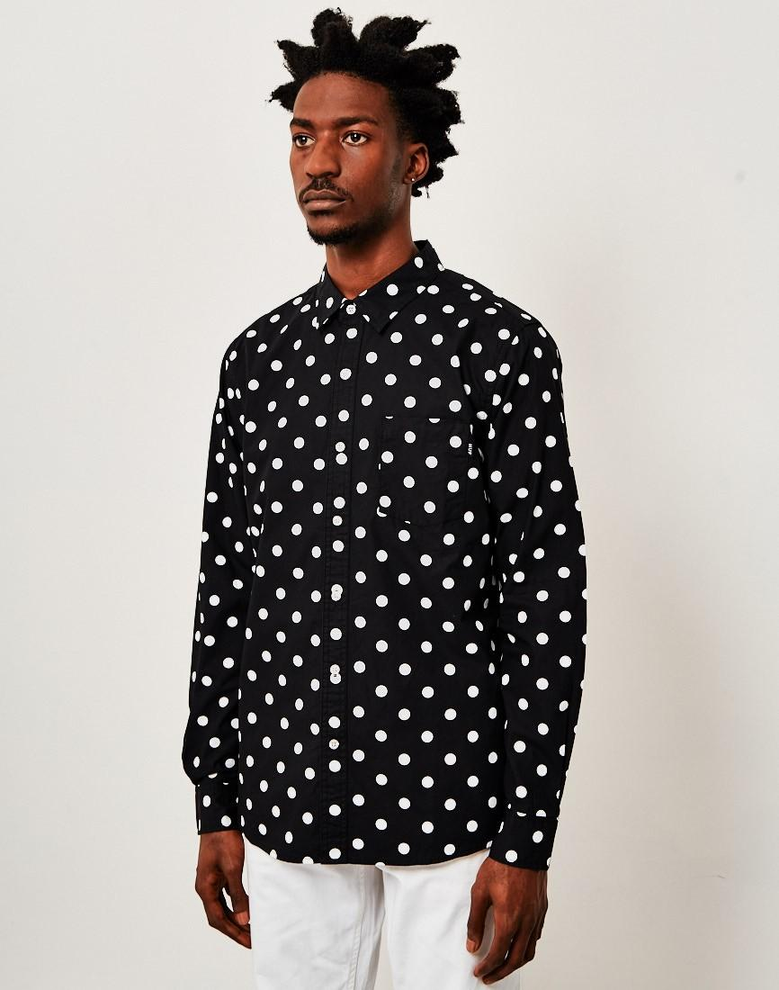 Huf bob long sleeve polka dot shirt black in black for men for Dotted shirts for mens