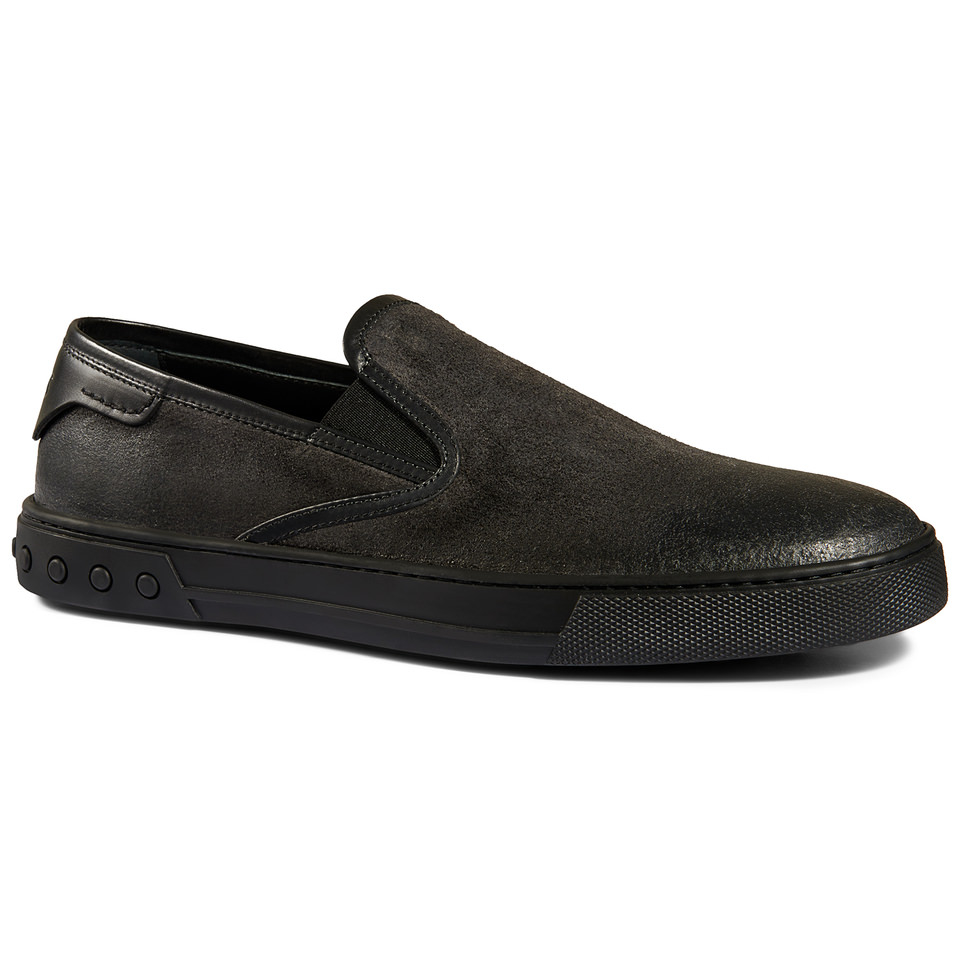 tod s slip on shoes in split leather in black for lyst