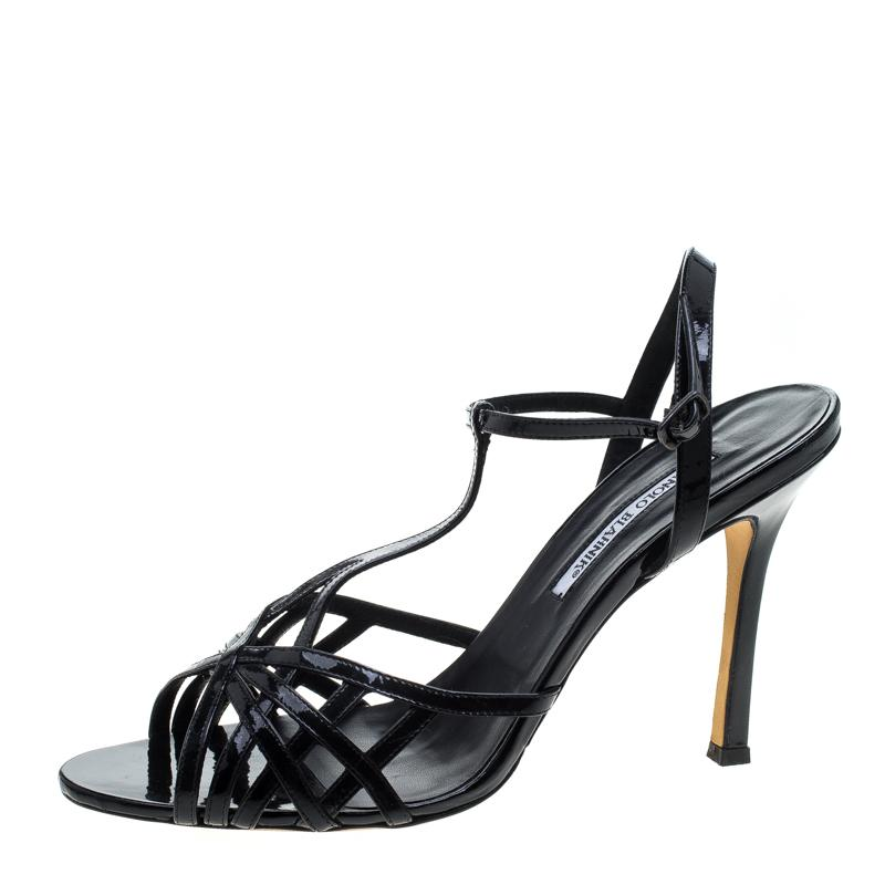05e9a689058 Manolo Blahnik - Black Patent Leather Cut Out T Strap Sandals Size 42 -  Lyst. View fullscreen