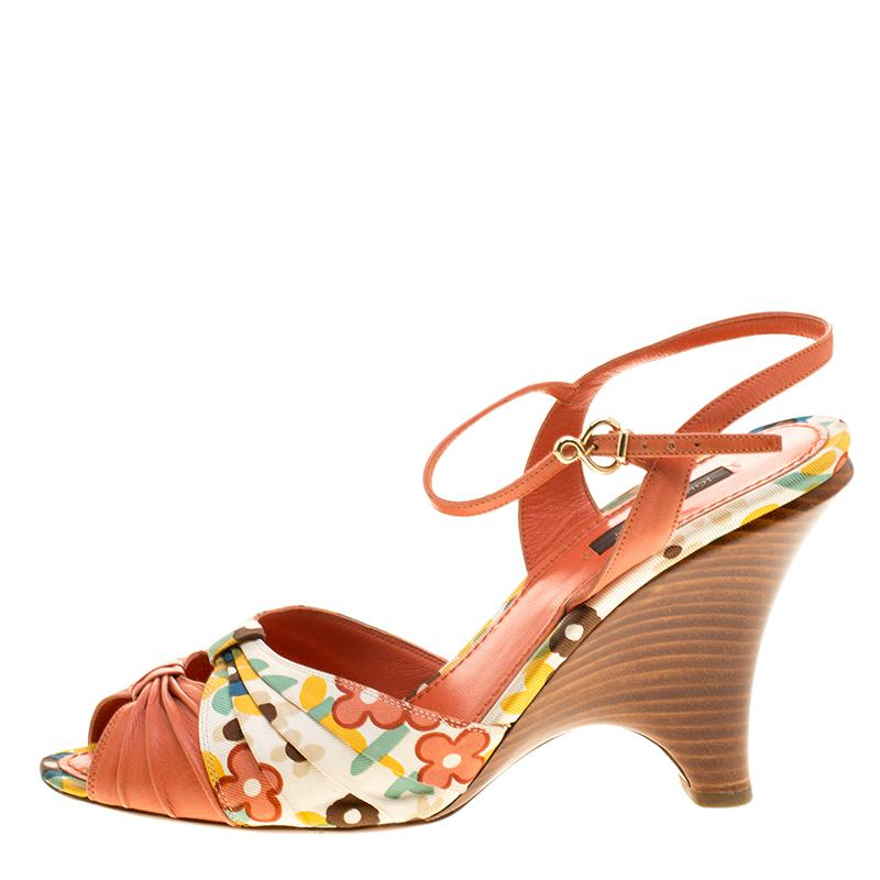 c9d75da283c6c Lyst - Louis Vuitton Motif Printed Fabric And Leather Ankle Strap ...