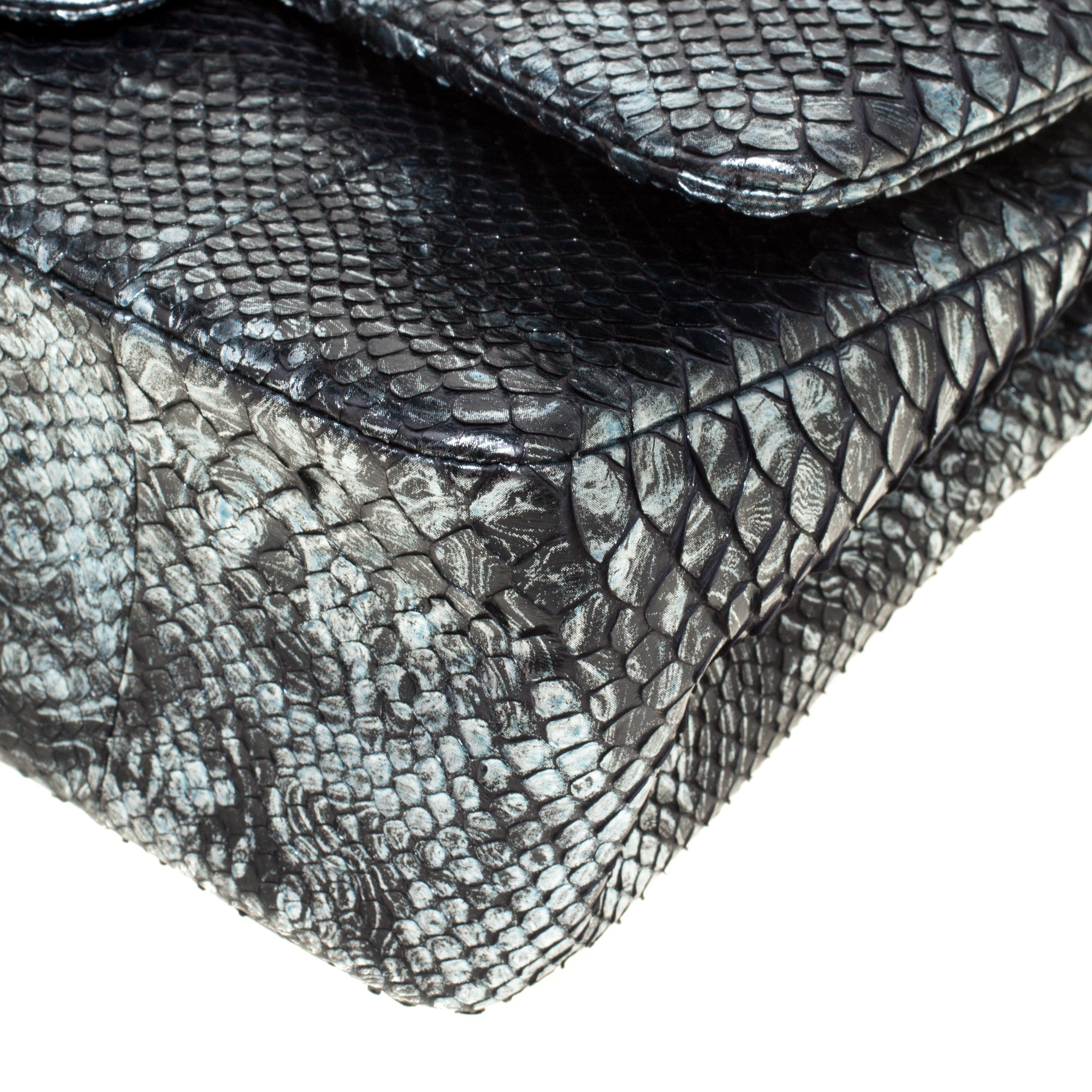 Lyst - Chanel Aquamarine Black Python Jumbo Classic Double Flap Bag ... c762510472d33