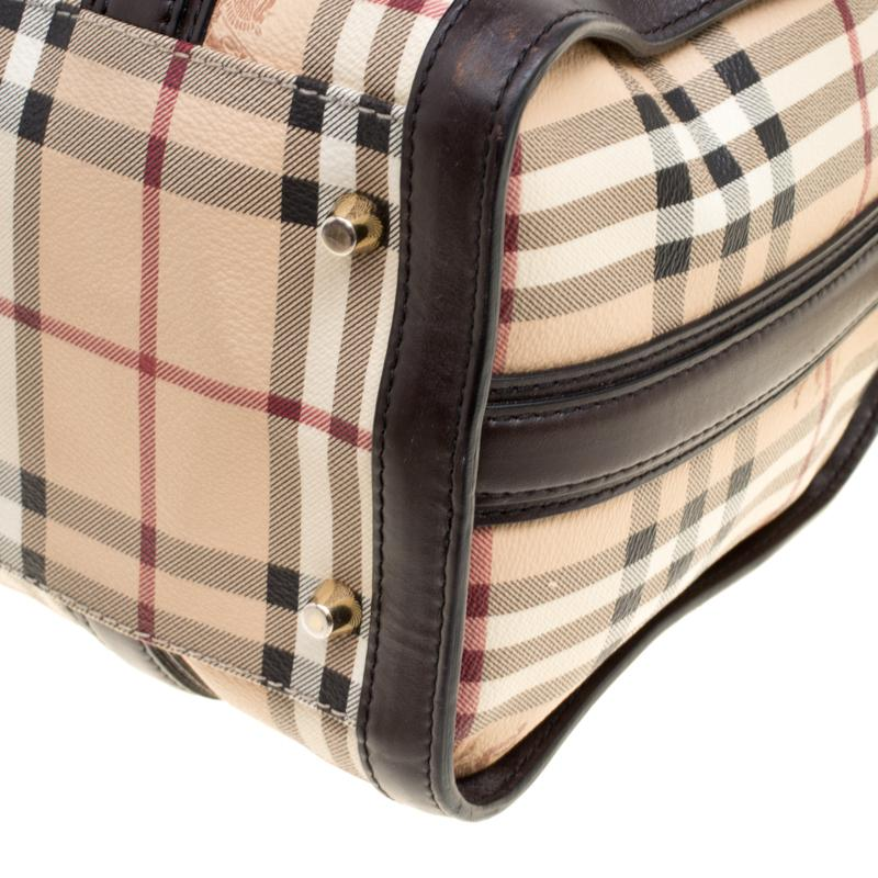 1cde17c0bdd5 Lyst - Burberry  brown Haymarket Check Canvas And Leather Alchester ...