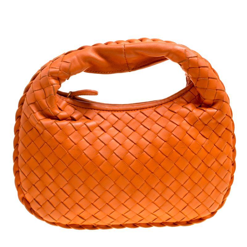 97797417b6bd Bottega Veneta Intrecciato Leather Mini Hobo in Orange - Lyst