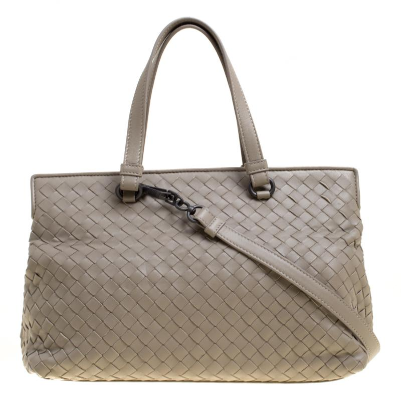 d52d06a26a Bottega Veneta Intrecciato Leather Tote in Natural - Lyst