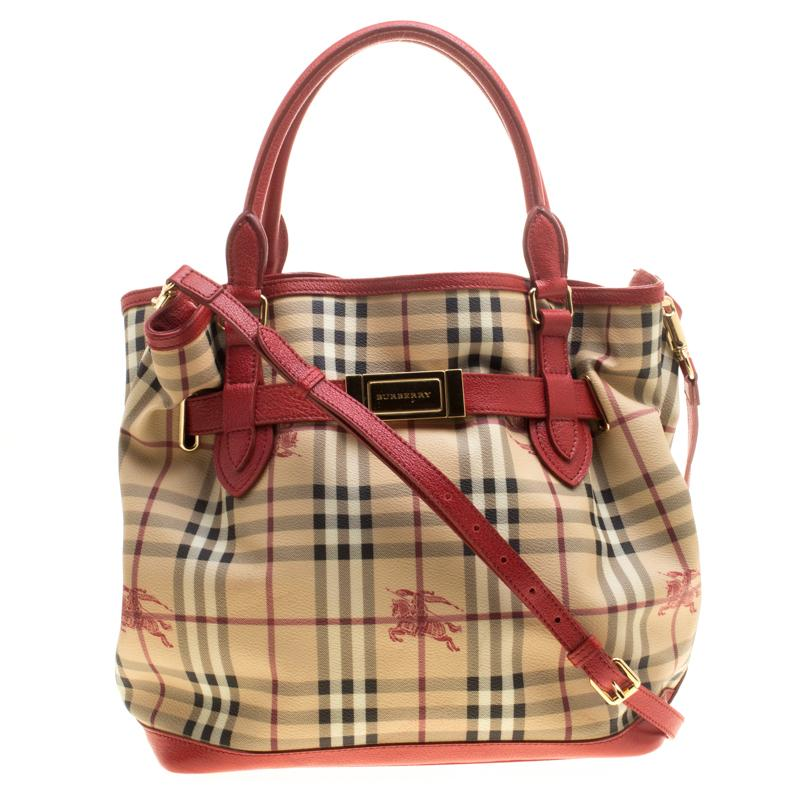 874424752909 Burberry. Women s Natural Beige red Haymarket Check Pvc And Leather Medium  Golderton Tote