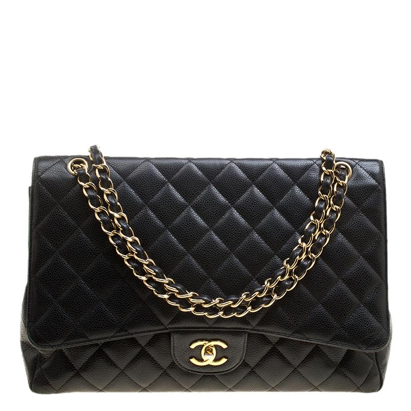a7bf430060c8 Chanel Quilted Leather Maxi Classic Single Flap Bag in Black - Lyst