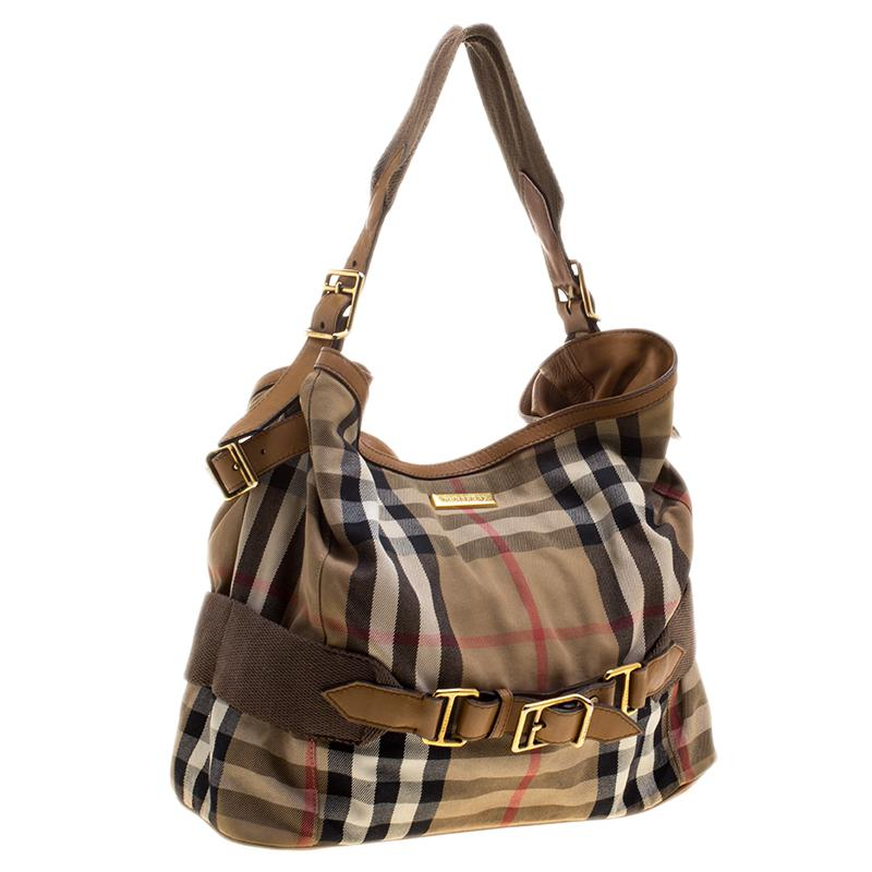 efc6fcc50e Burberry Canvas House Check Prorsum Vintage Hobo in Natural - Lyst