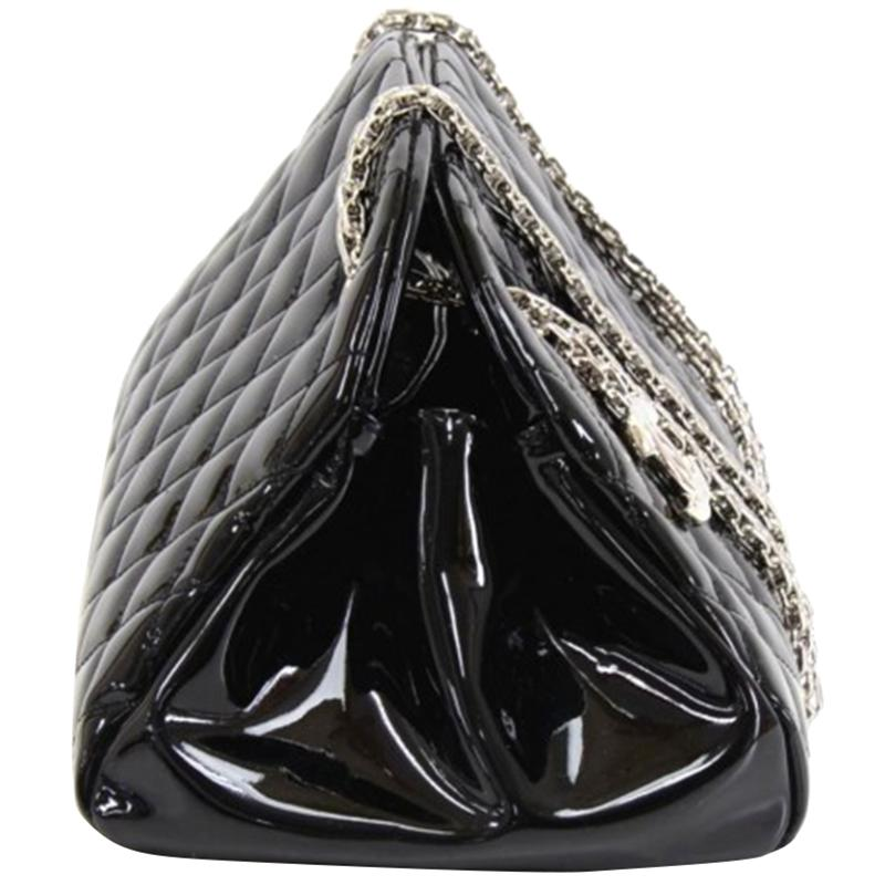 4e909caf083927 Chanel Quilted Patent Leather Just Mademoiselle Bowling Bag in Black ...